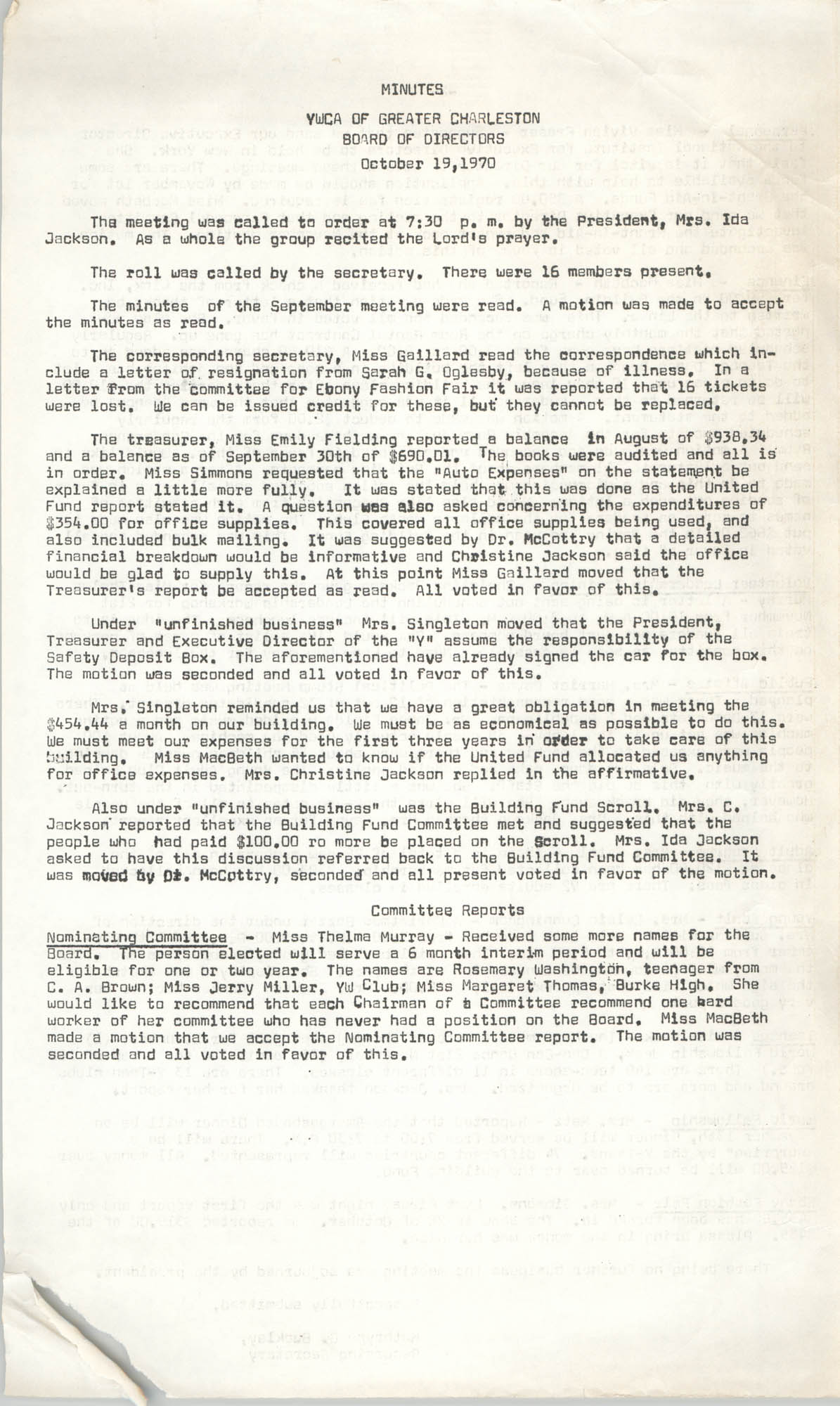 Minutes to the Board of Directors Meeting, Y.W.C.A. of Greater Charleston, October 19, 1970