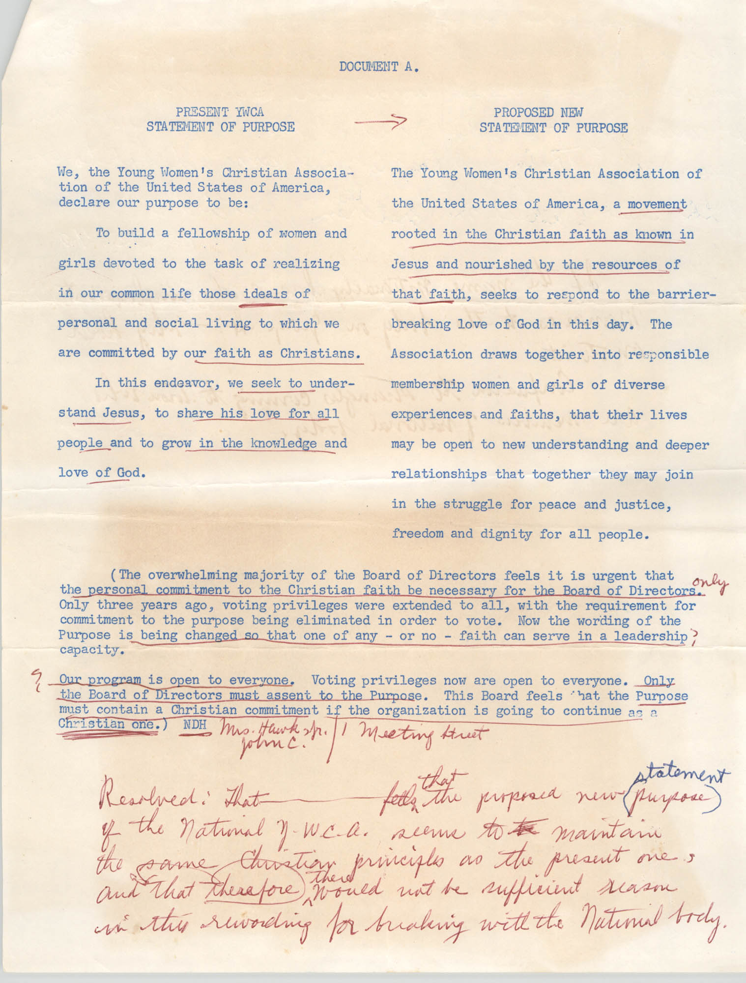 Y.W.C.A. of Greater Charleston Statement of Purpose, 1971