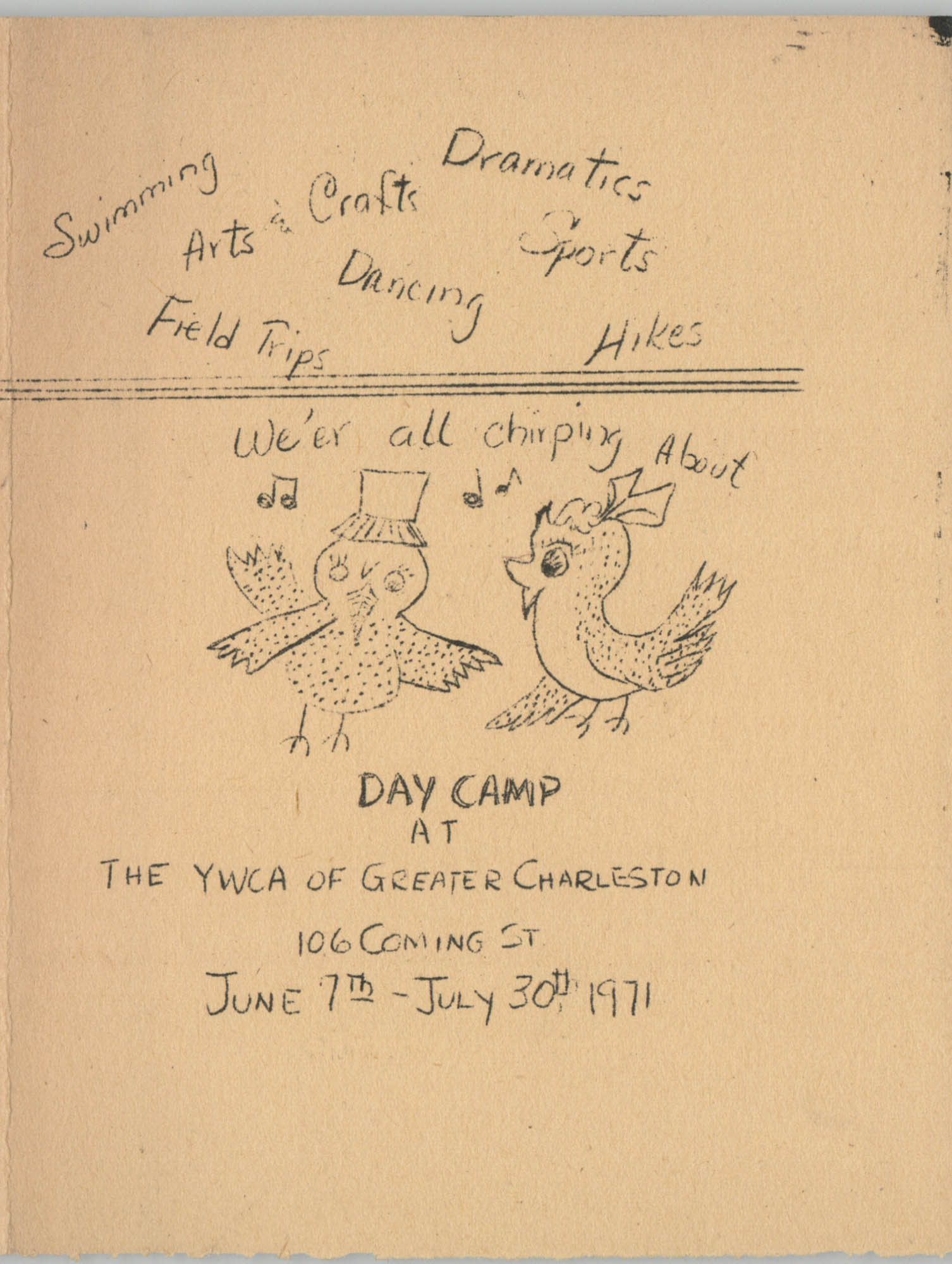 Y.W.C.A. of Greater Charleston Day Camp Application, July 1971