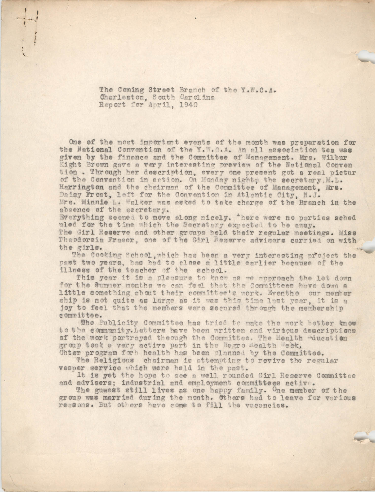 Monthly Report for the Coming Street Y.W.C.A., April 1940