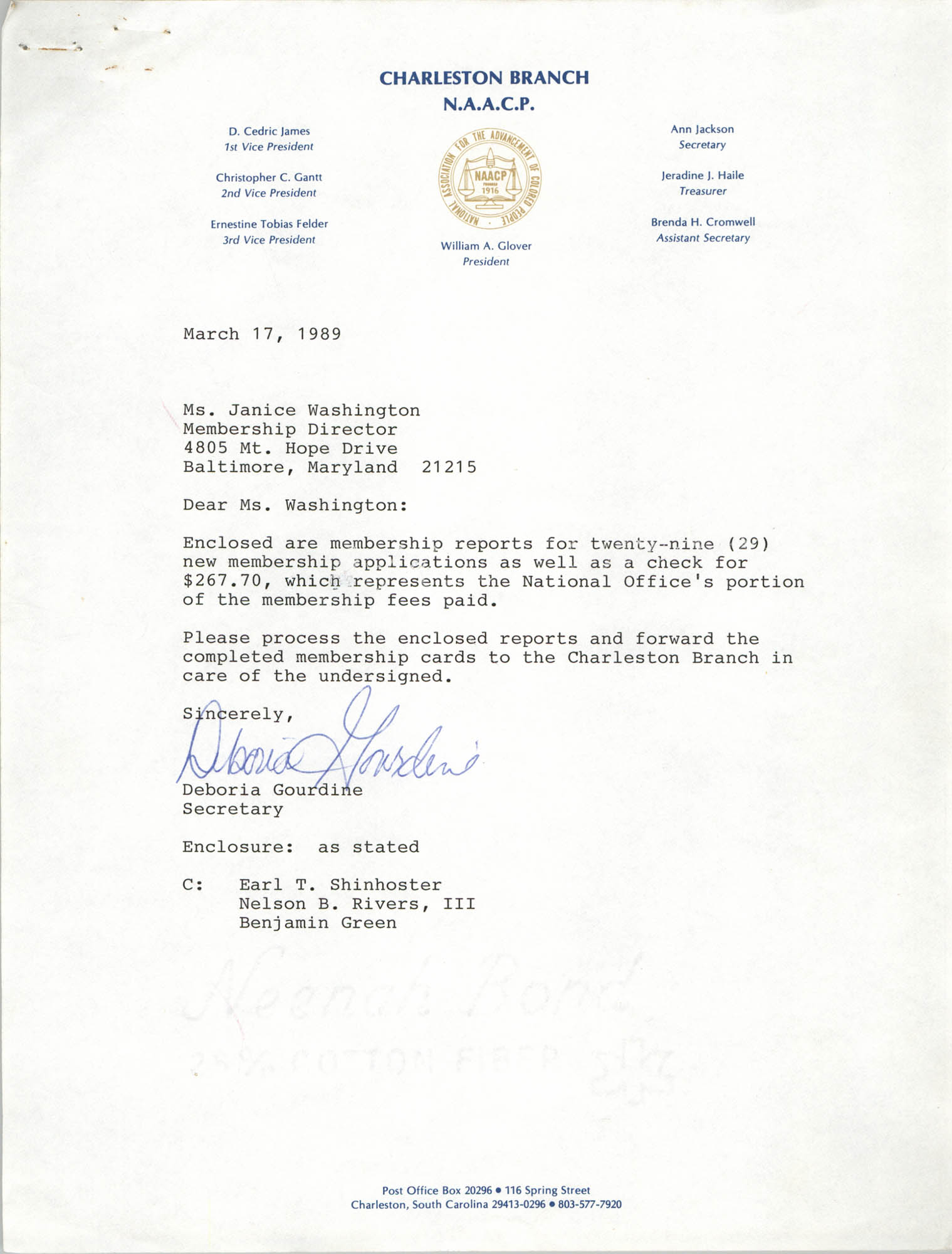 Letter from Deboria D. Gourdine to Janice Washington, NAACP, March 17, 1989