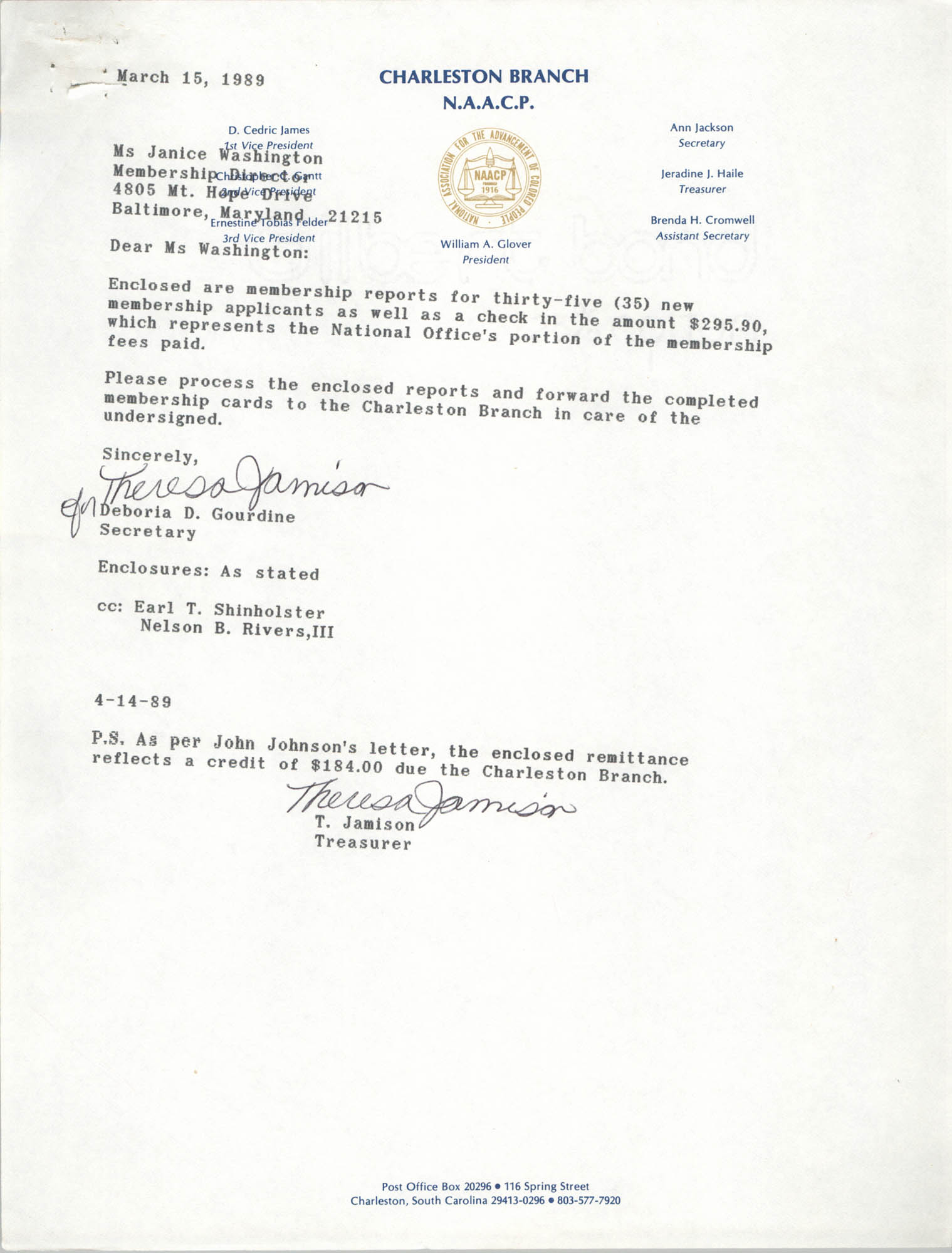 Letter from Deboria D. Gourdine to Janice Washington, NAACP, March 15, 1989