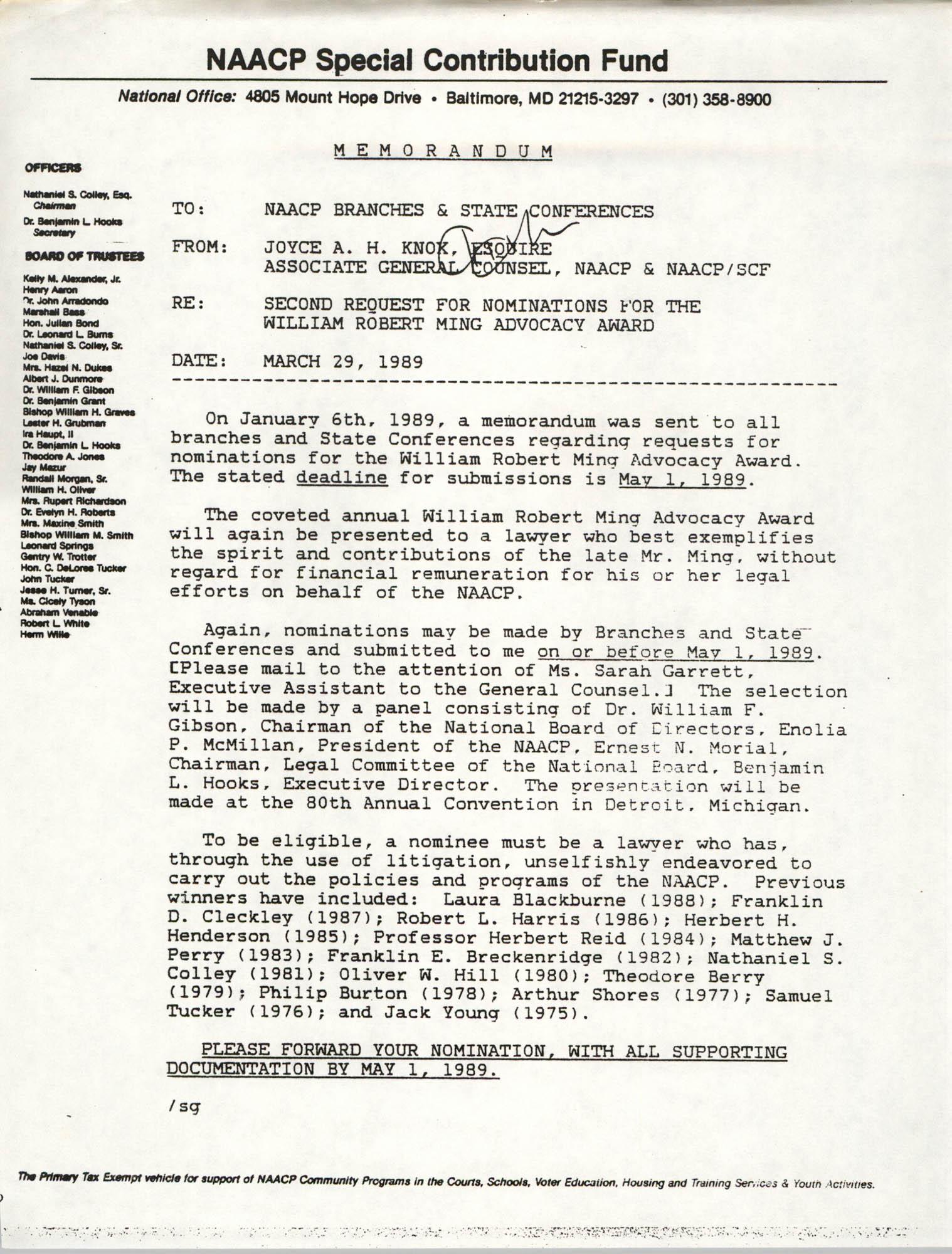Memorandum, Joyce A.H. Knox, March 29, 1989