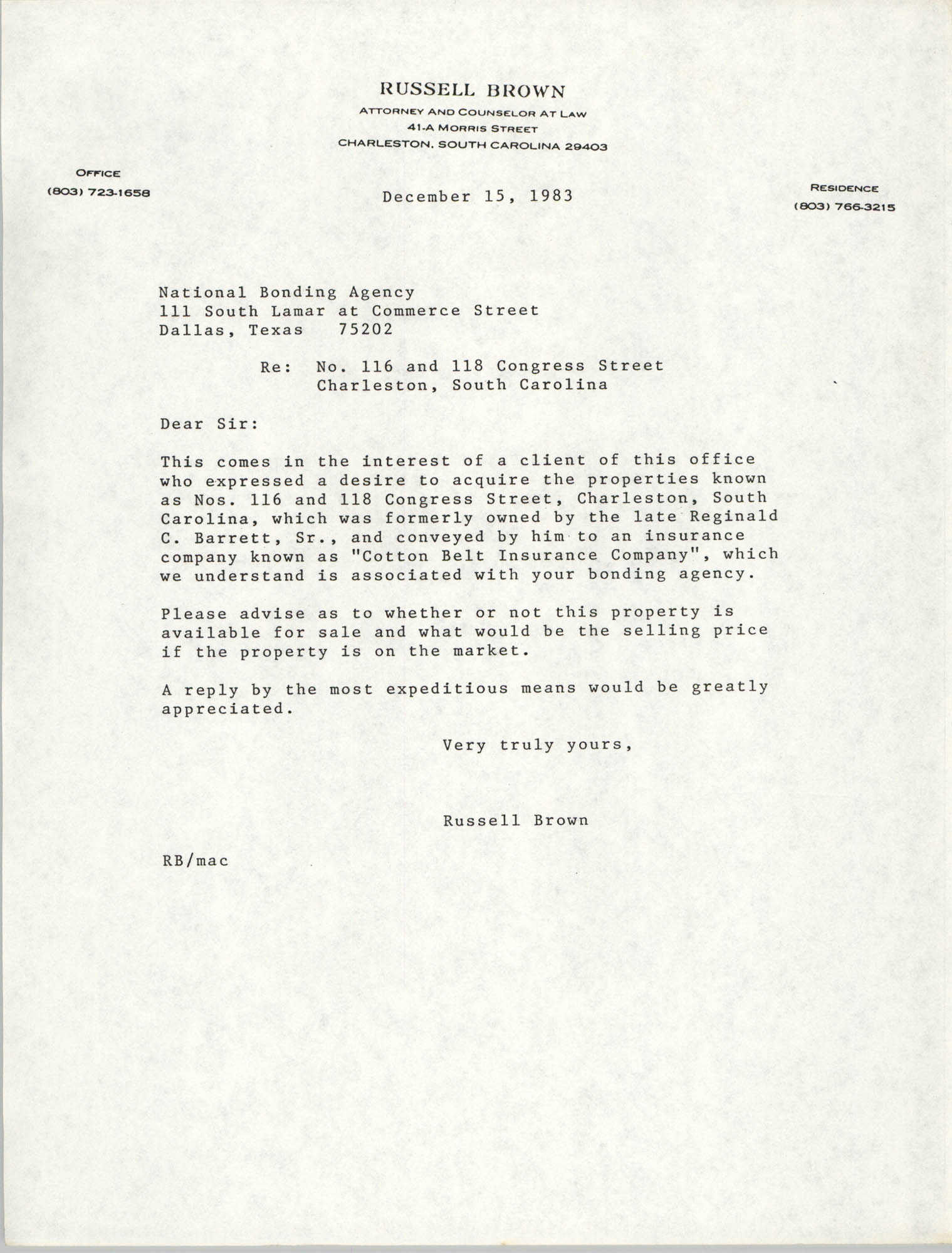 Letter from Russell Brown to the National Bonding Agency, December 15, 1983