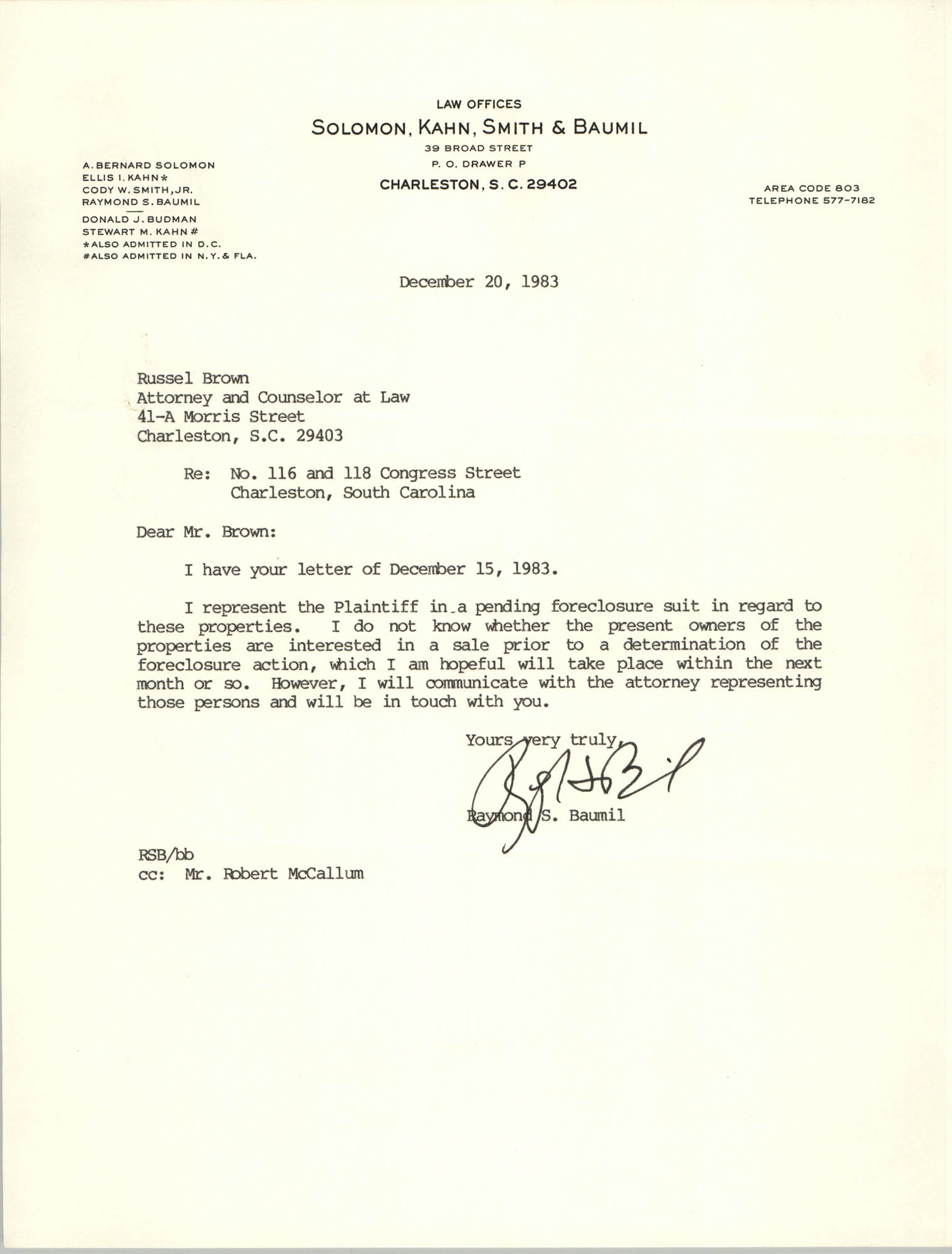 Letter from Raymond S. Baumil to Russell Brown, December 20, 1983