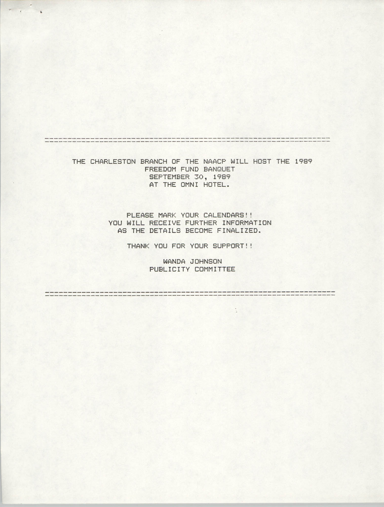 Press Release, 1989 Freedom Fund Banquet, Charleston Branch of the NAACP, Wanda Johnson