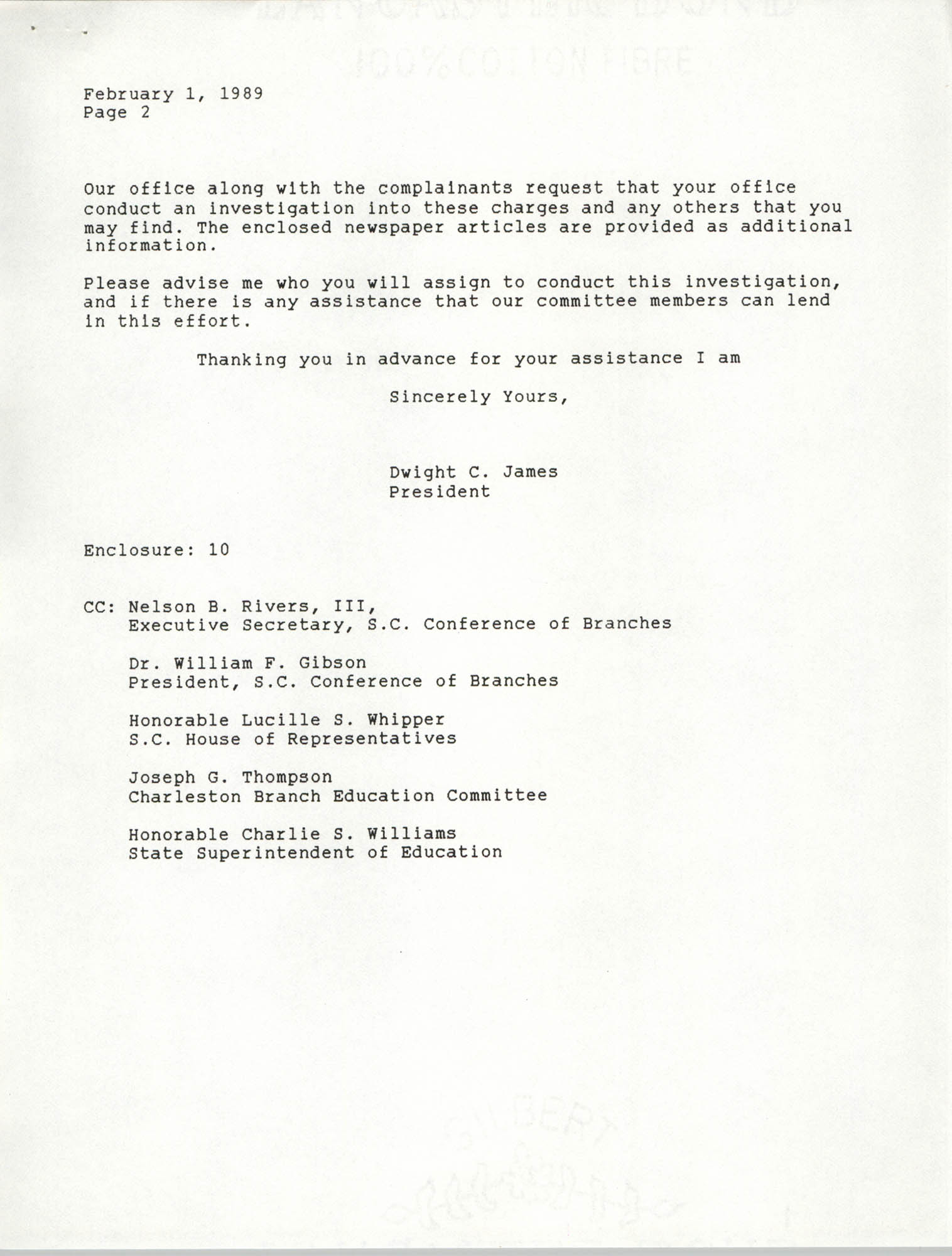 Letter from Dwight C. James, February 1, 1989, Page 2