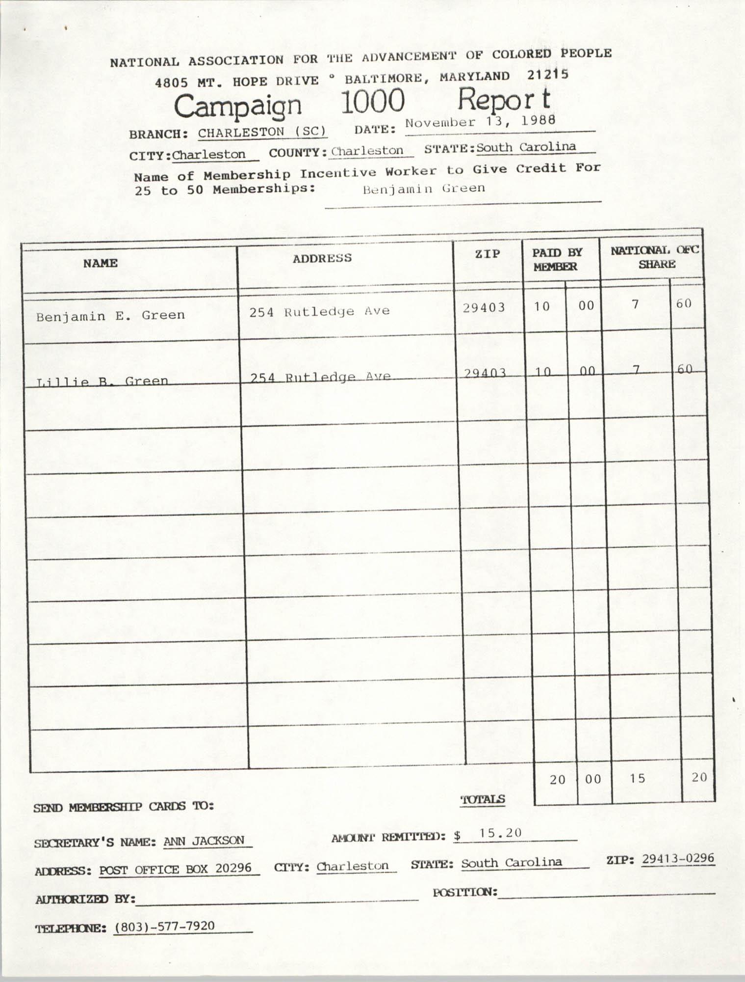 Campaign 1000 Report, Benjamin Green, Charleston Branch of the NAACP, November 13, 1988