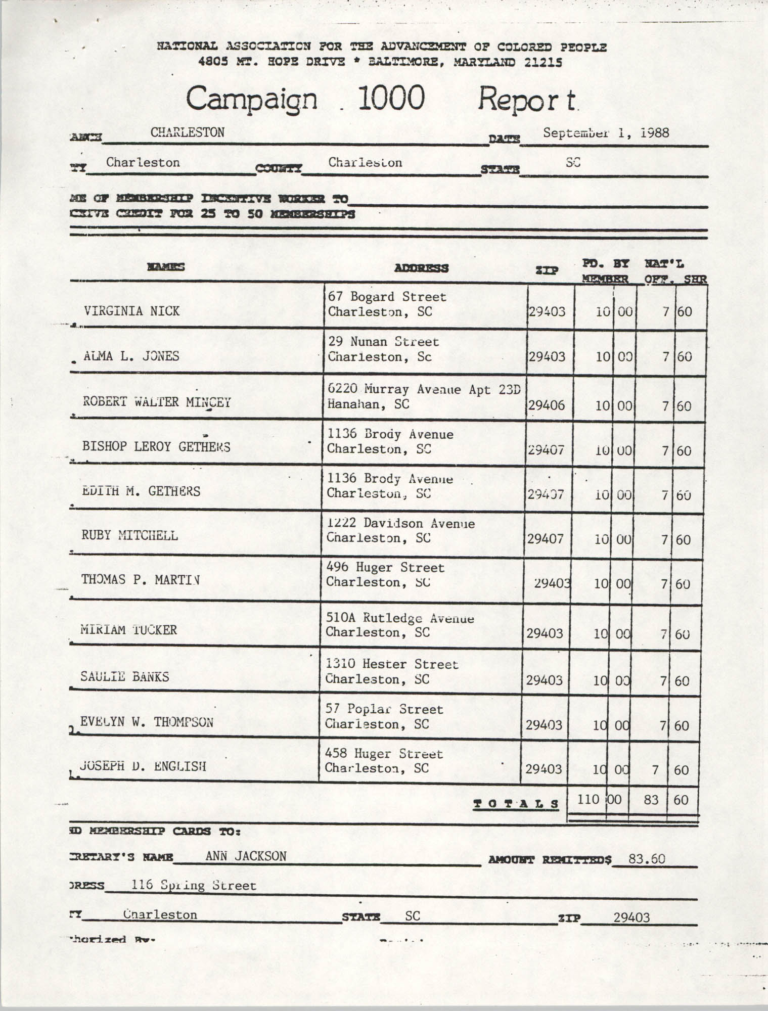 Campaign 1000 Report, Charleston Branch of the NAACP, September 1, 1988