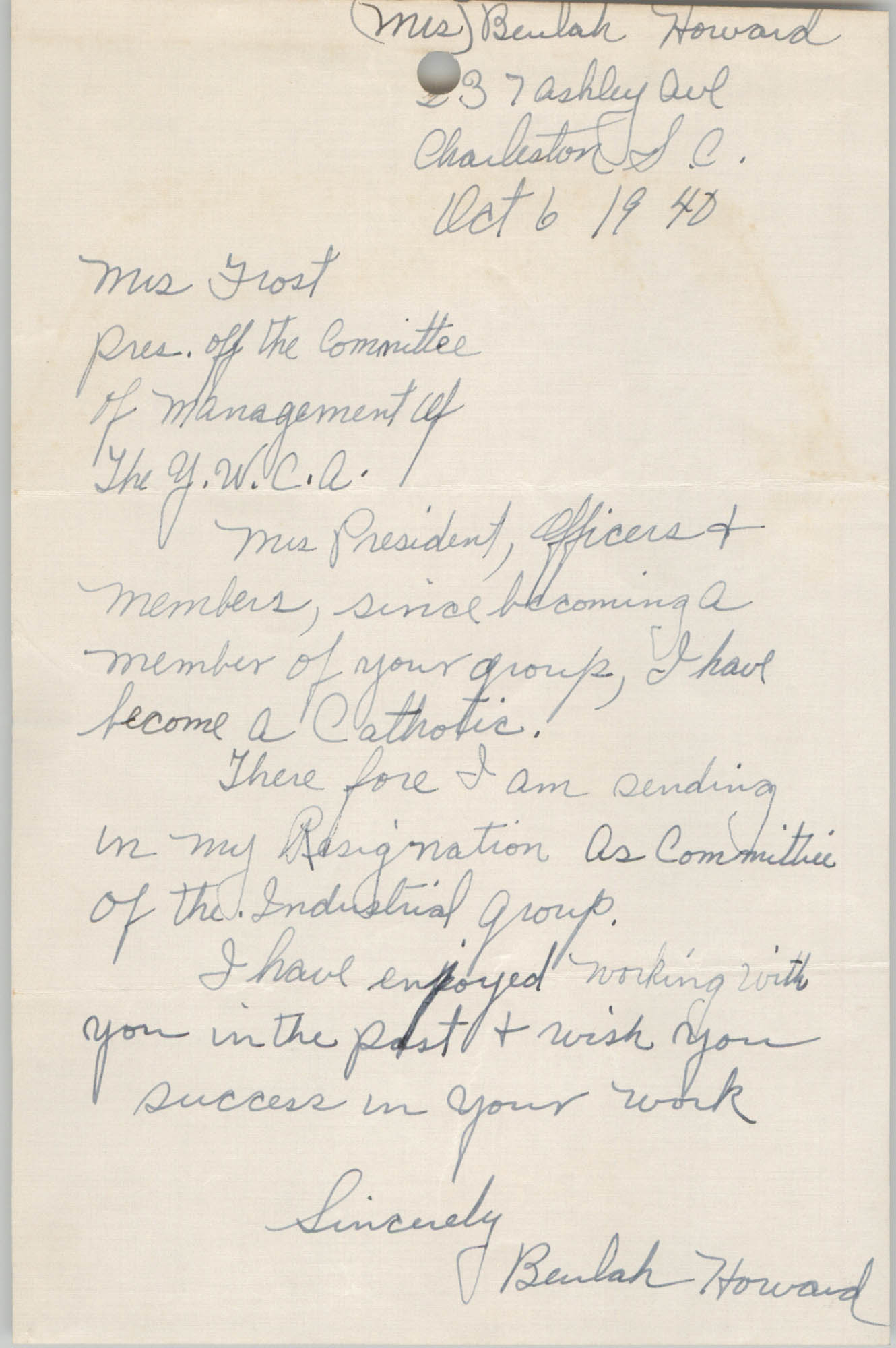 Letter from Beulah Howard to Committee of Management, Coming Street Y.W.C.A., October 6, 1940