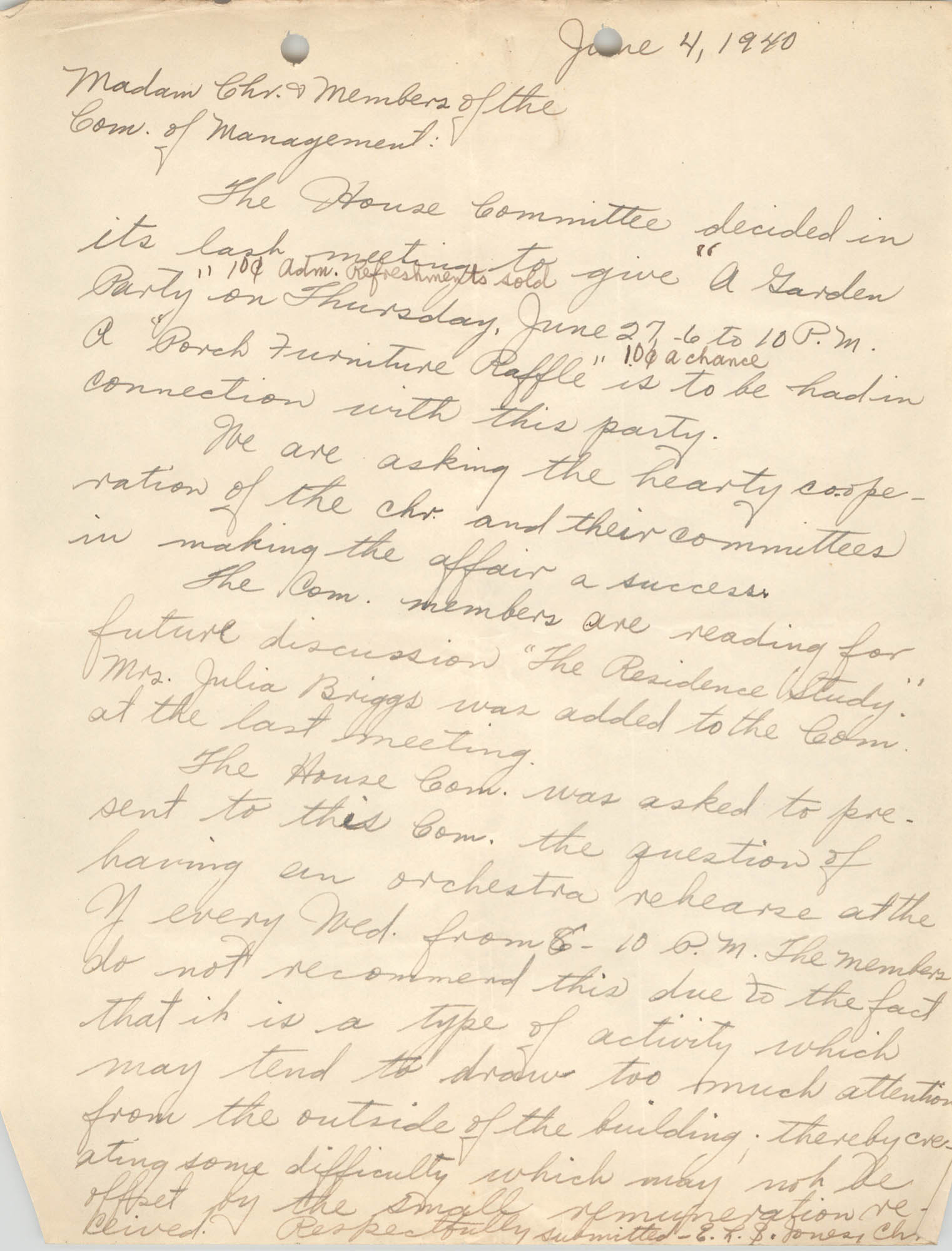 Letter from Ella L. Jones to Committee of Management, Coming Street Y.W.C.A., June 4, 1940
