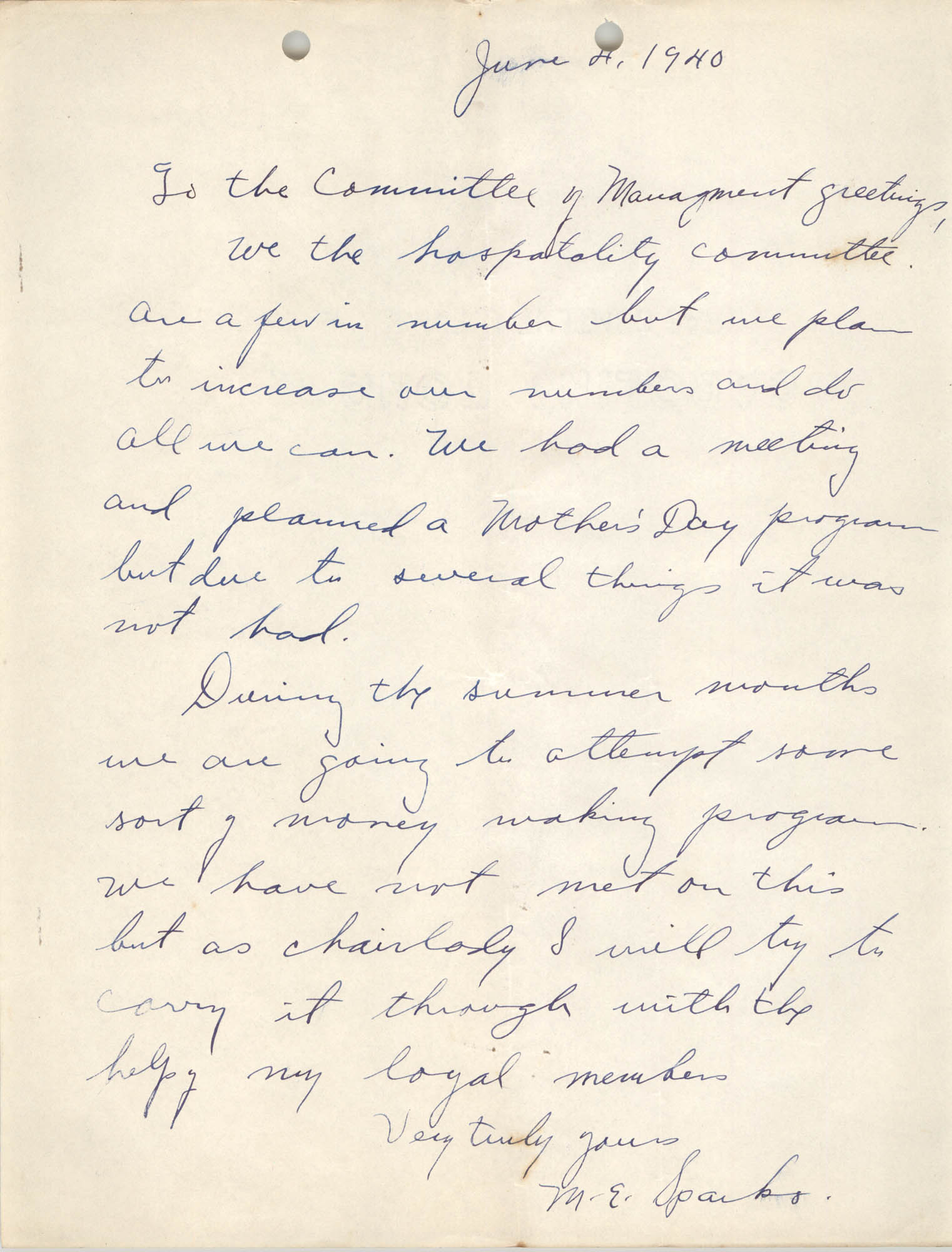 Letter from M. E. Sparks to Committee of Management, Coming Street Y.W.C.A., June 4, 1940