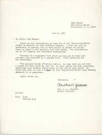 Letter from Christine O. Jackson to Y.W.C.A. Members, June 5, 1967