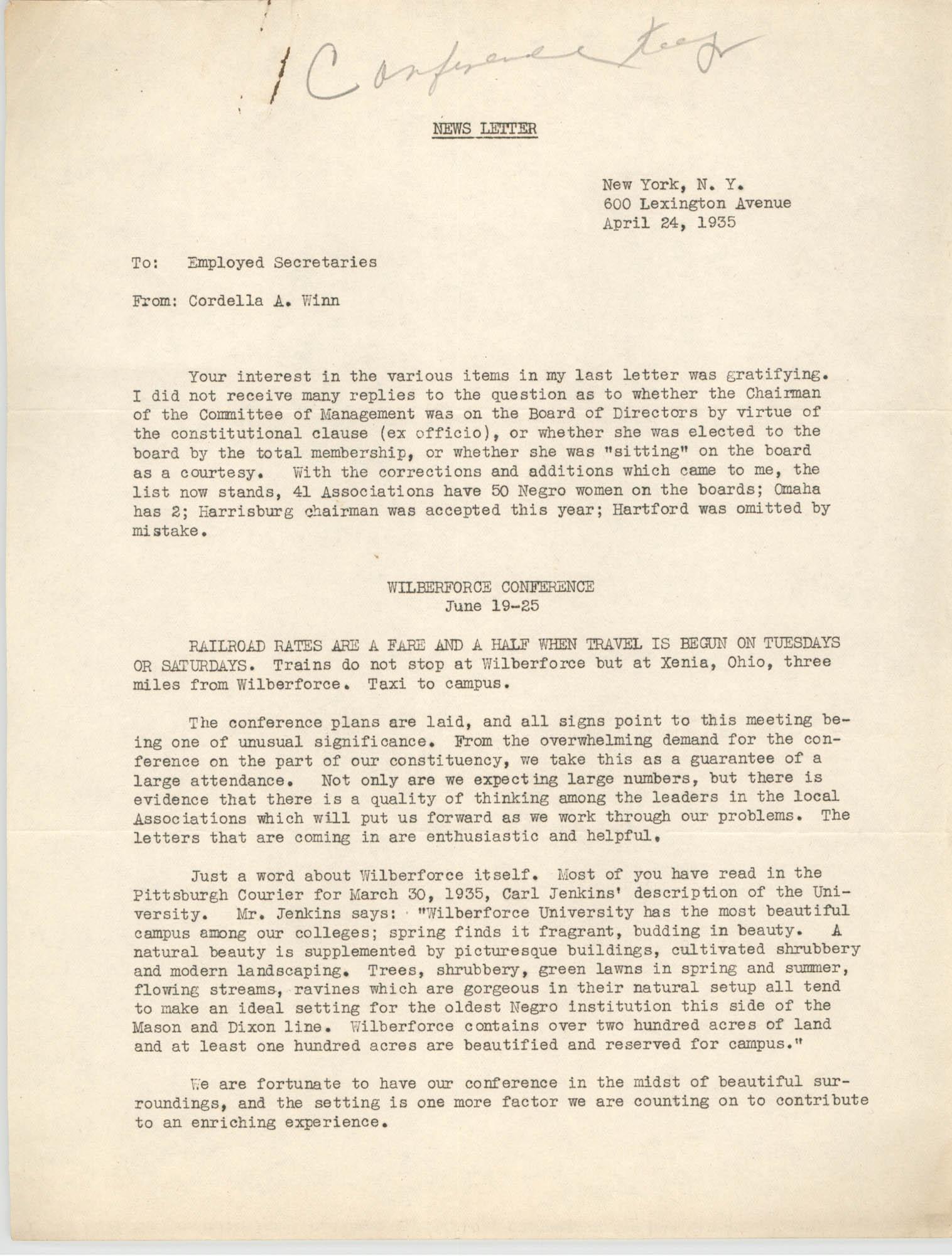 Y.W.C.A. News Letter, April 24, 1935