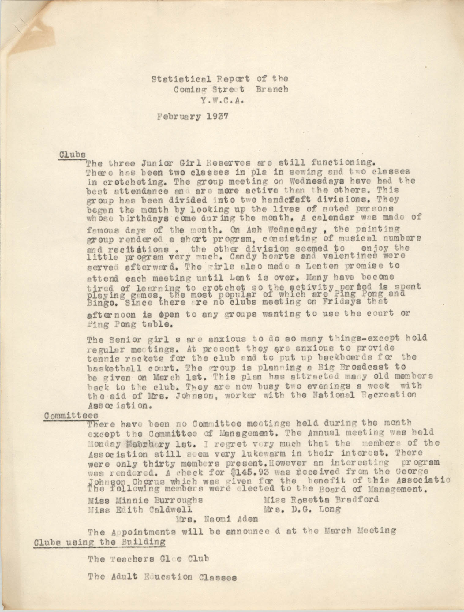 Statistical Report of the Coming Street Y.W.C.A., February 1937