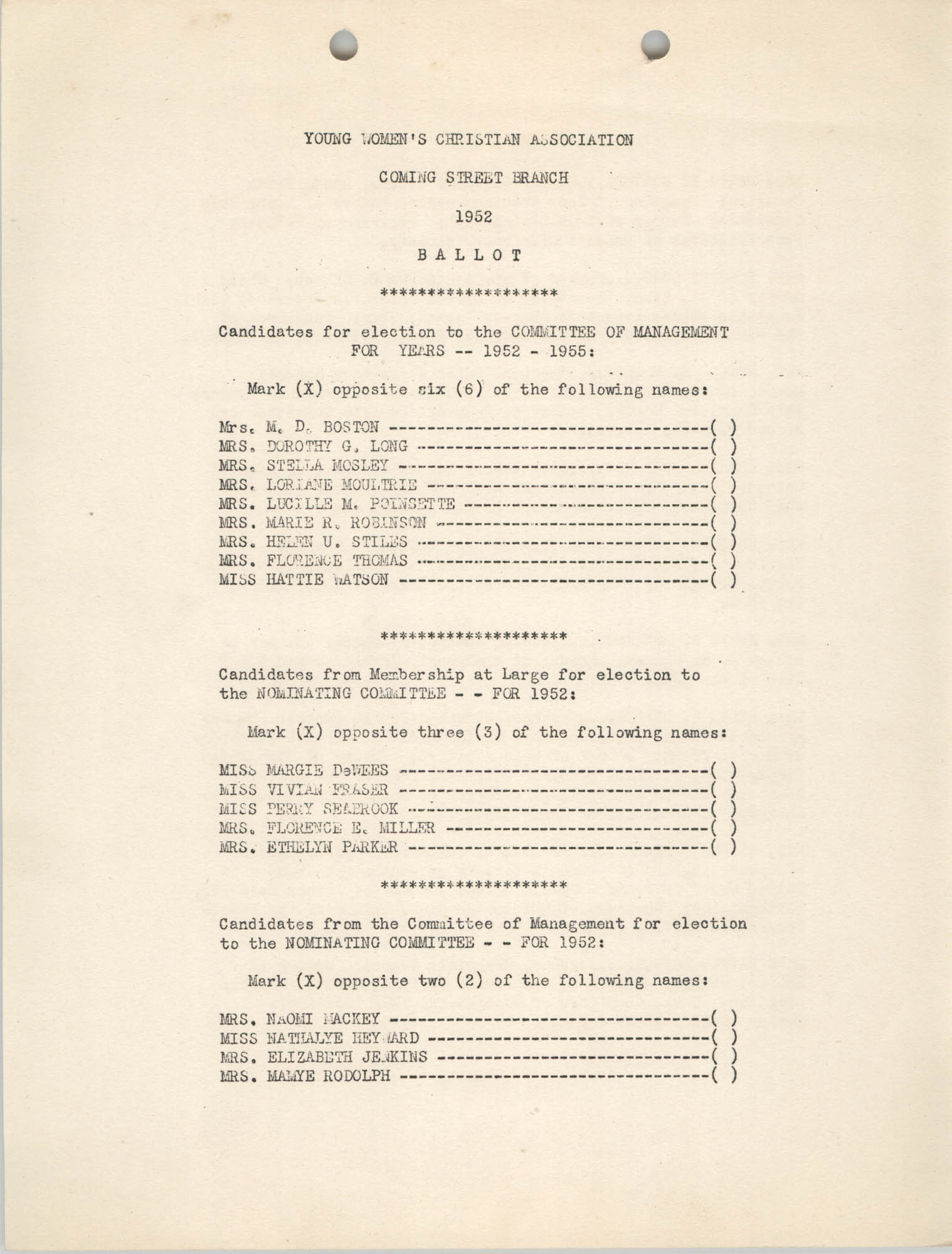 Coming Street Y.W.C.A. Ballot, 1952