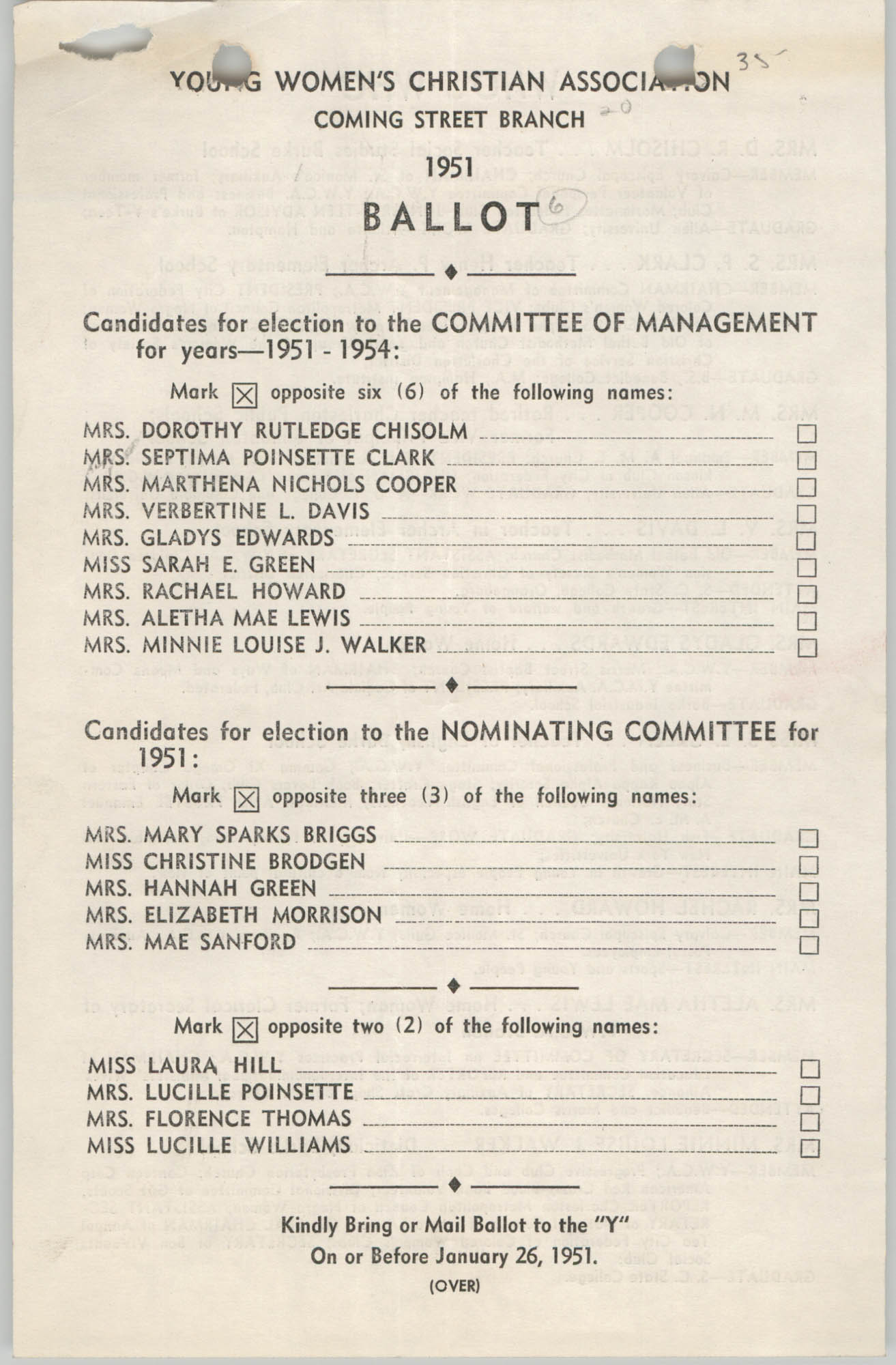 Coming Street Y.W.C.A. Ballot, 1951