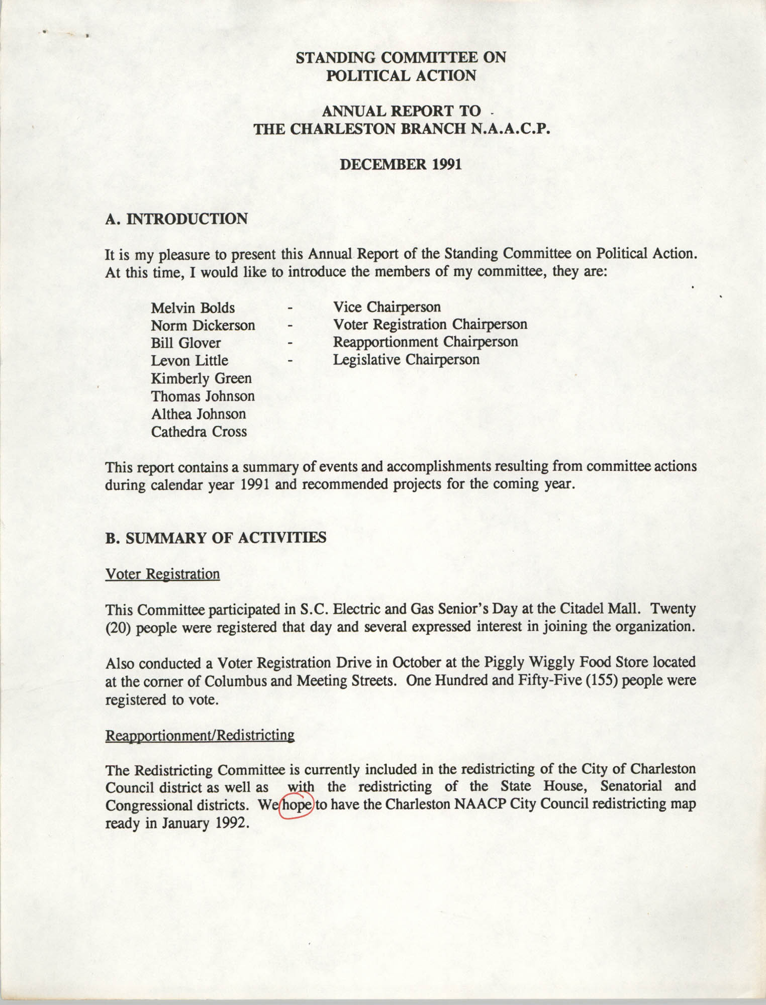 Annual Report, Standing Committee on Political Action, Charleston Branch of the NAACP, December 1991