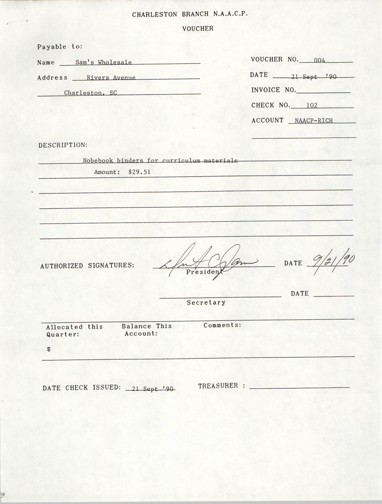 Voucher, National Association for the Advancement of Colored People, Sam's Wholesale, Dwight C. James, September 21, 1990