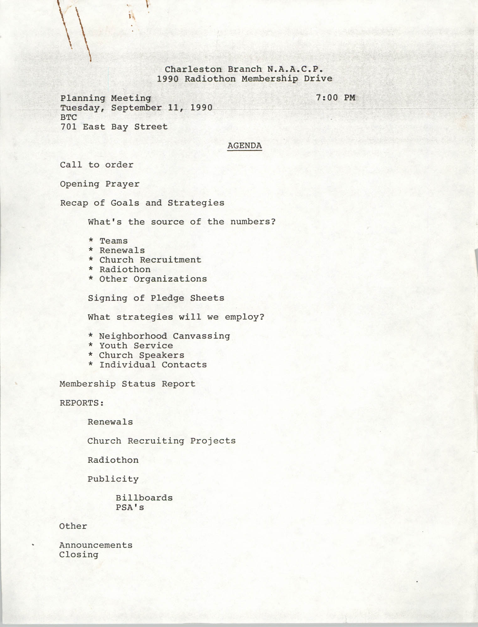 Planning Meeting Agenda, Radiothon Membership Drive, National Association for the Advancement of Colored People, September 11, 1990