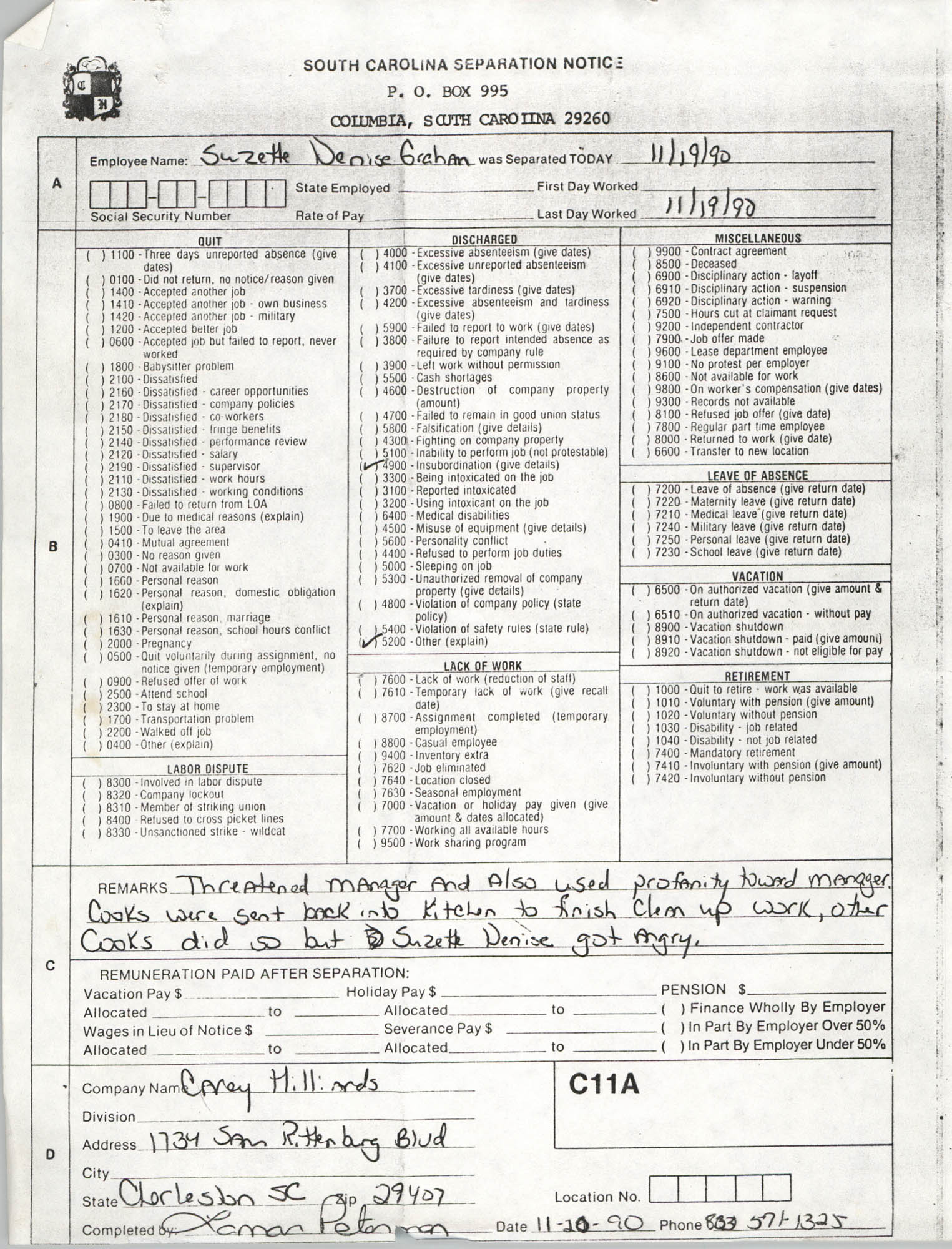 South Carolina Separation Notice Form, November 20, 1990