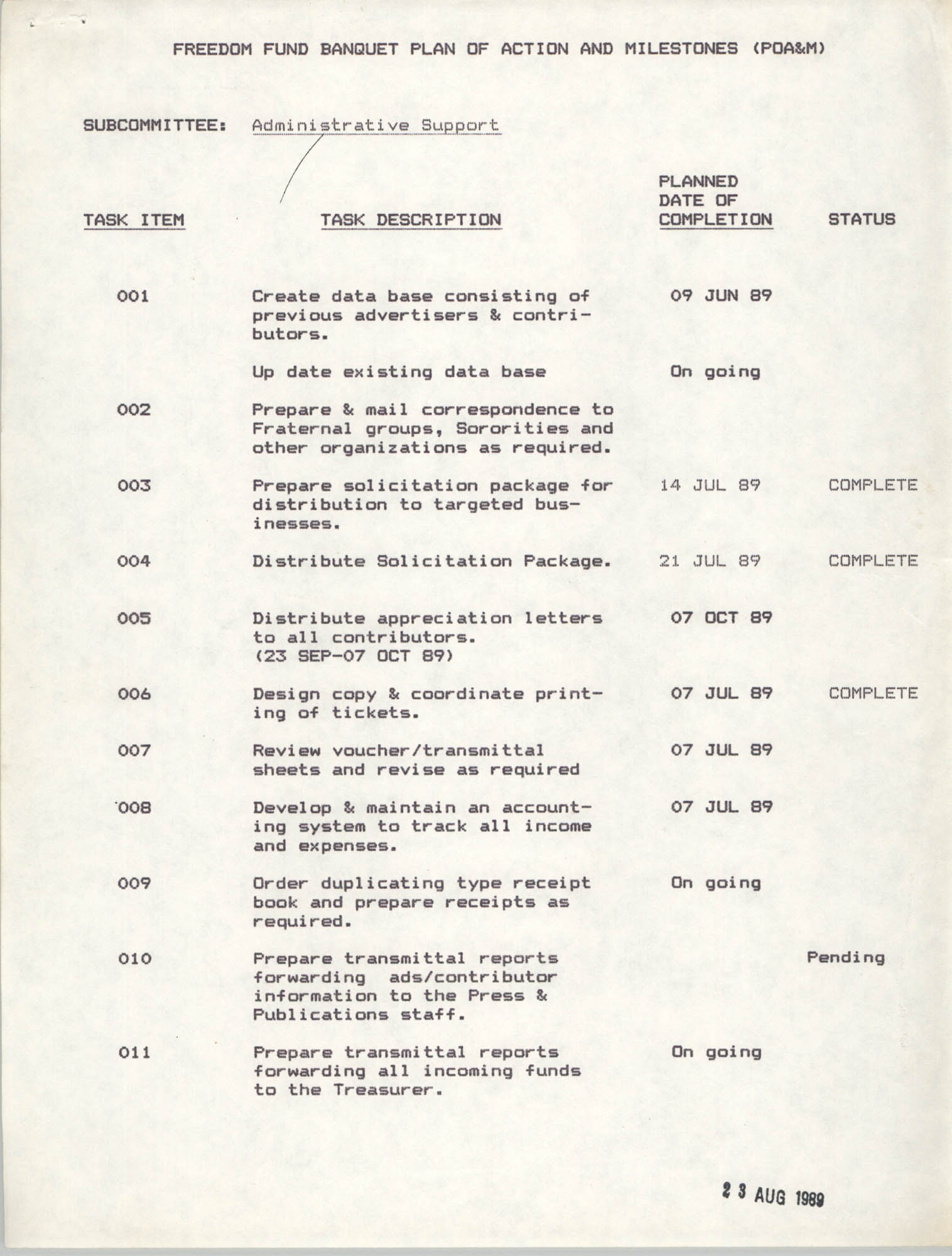 Plan of Actions and Milestones, Administrative Support Subcommittee, Freedom Fund Banquet, August 23, 1989