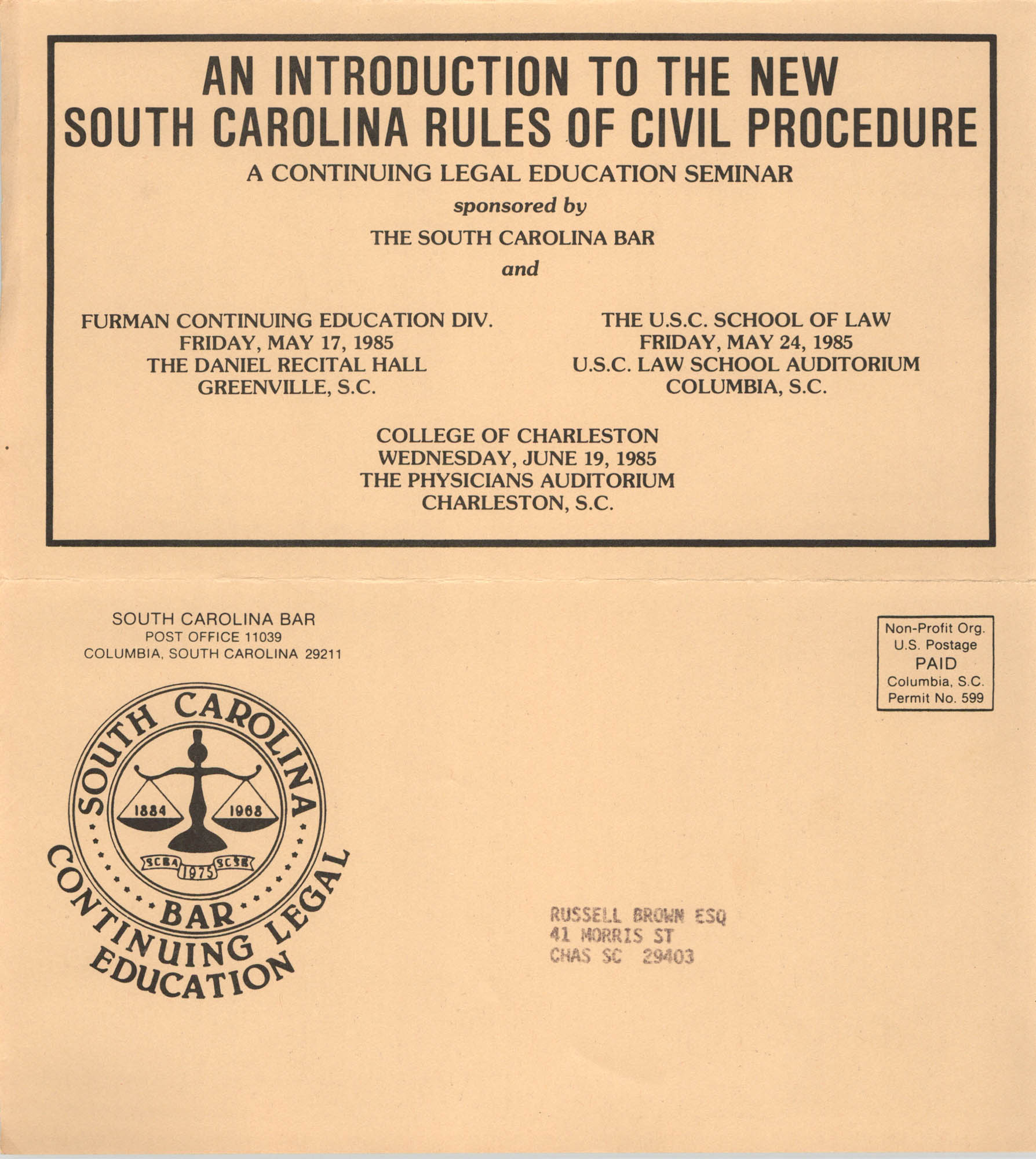 An Introduction to the New South Carolina Rules of Civil Procedure, Continuing Legal Education Seminar Pamphlet, 1985, Russell Brown
