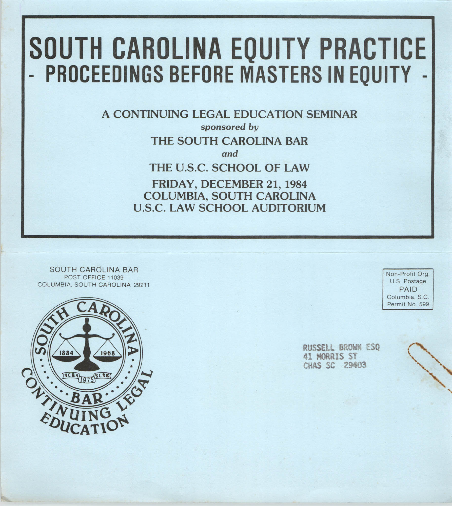 South Carolina Equity Practice, Continuing Education Seminar Pamphlet, December 21, 1984, Russell Brown