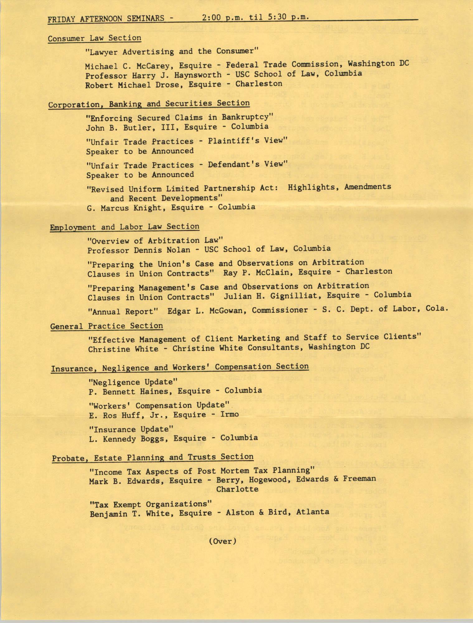 1985 Annual Meeting of  the South Carolina Bar, Seminar Descriptions