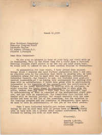 Letter from Amanda Keith to Kathaleen Carpenter, March 16, 1950
