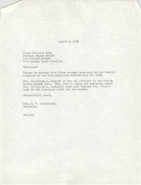 Letter from H. P. Hutchinson to First National Bank, August 3, 1966