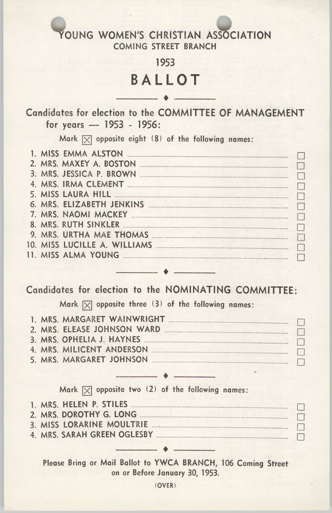 Coming Street Y.W.C.A. Ballot, 1953