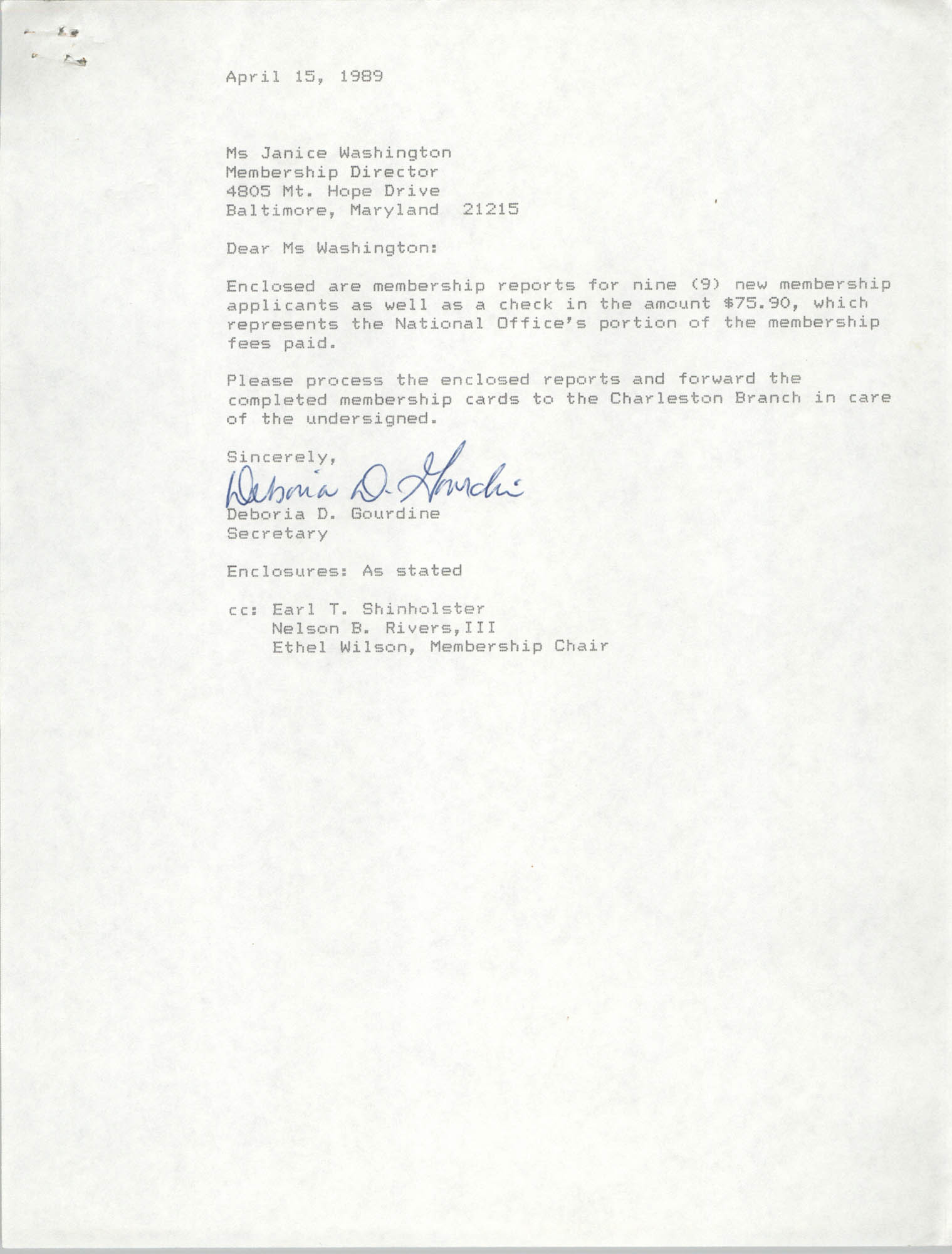 Letter from Deboria D. Gourdine to Janice Washington, NAACP, April 15, 1989