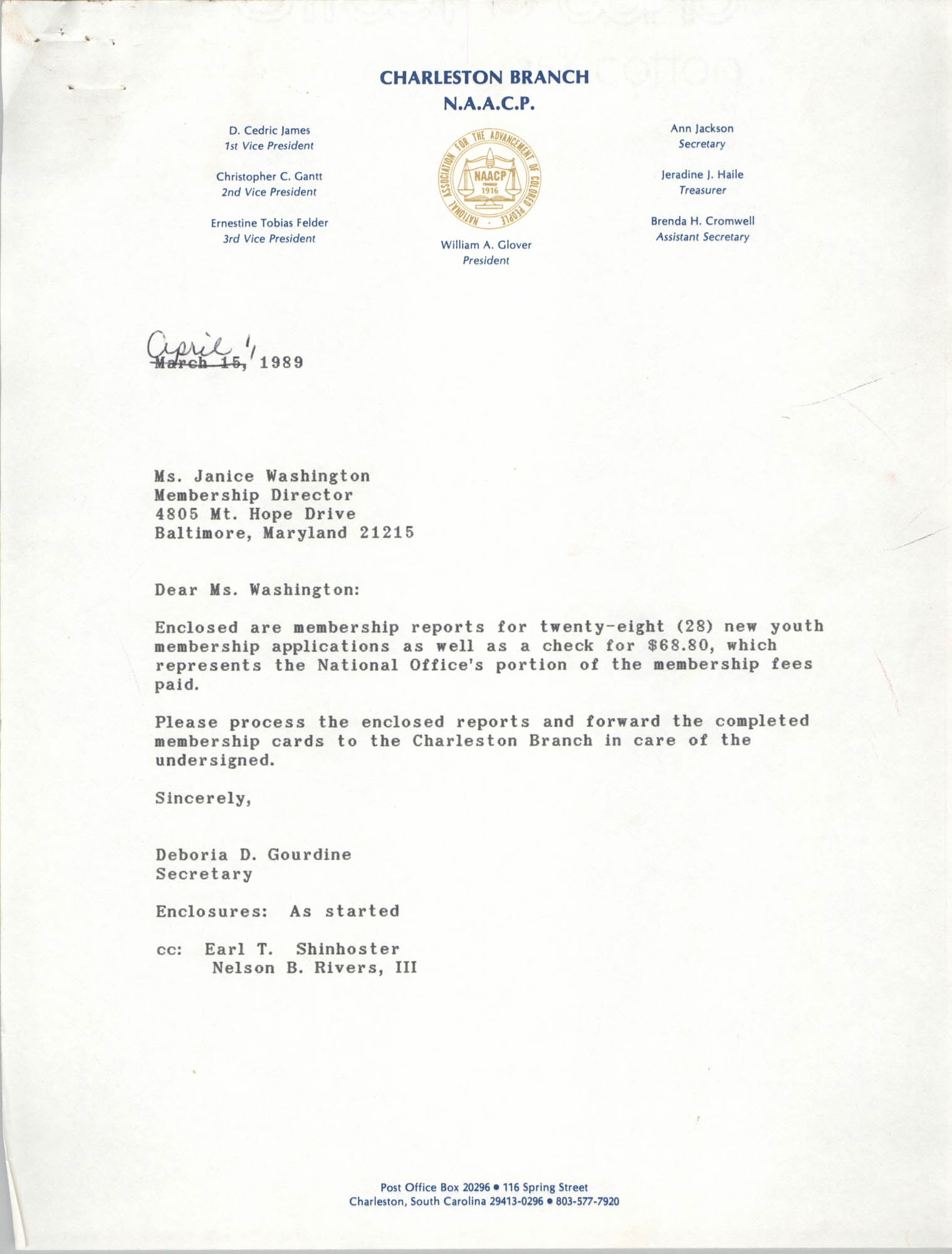 Letter from Deboria D. Gourdine to Janice Washington, NAACP, April 1, 1989