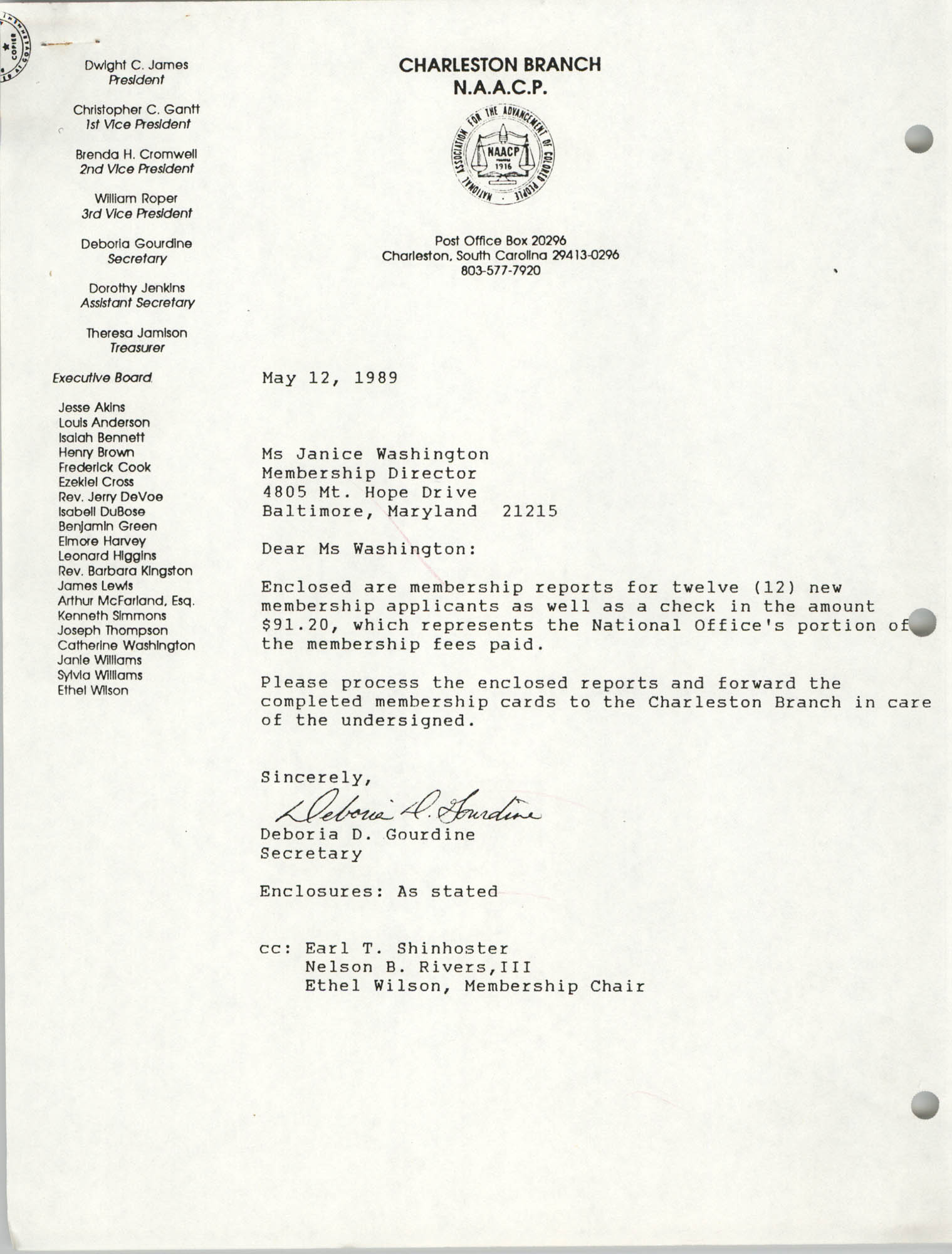 Letter from Deboria D. Gourdine to Janice Washington, NAACP, May 12, 1989