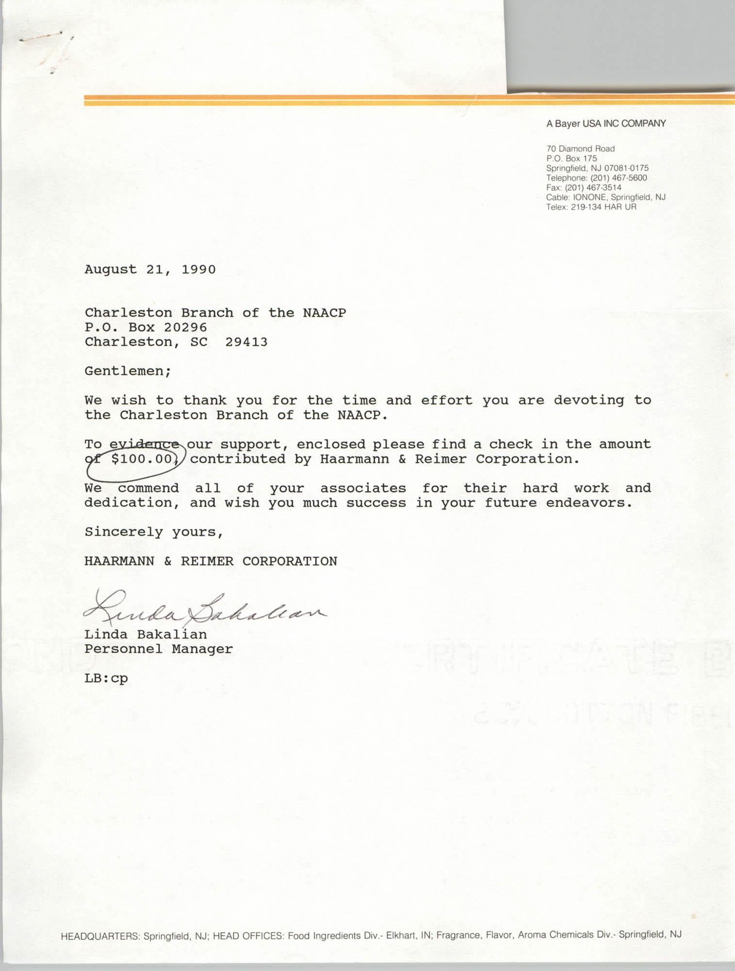 Letter from Linda Bakalian to Gentlemen, August 21, 1990