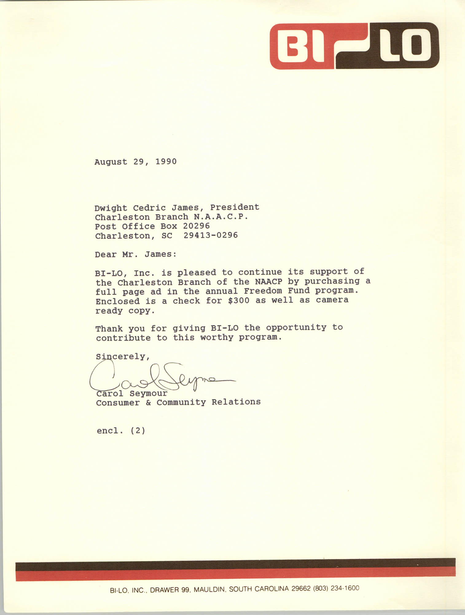 Letter from Carol Seymour to Dwight C. James, August 29, 1990