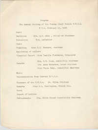 Program for the Annual Meeting of the Coming Street Y.W.C.A., February 15, 1938