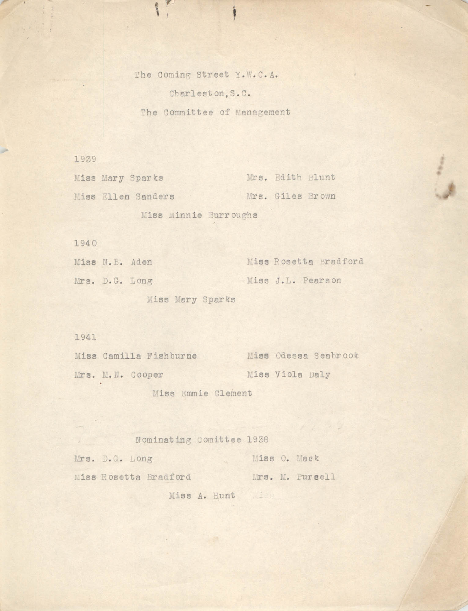 Committee of Management for 1939-1941, Coming Street Y.W.C.A.