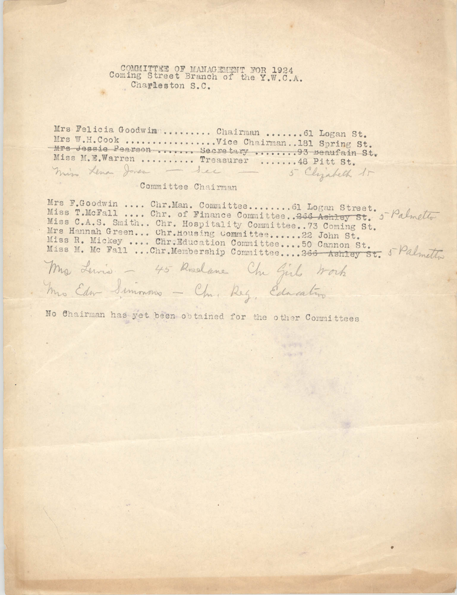 Committee of Management for 1924, Coming Street Y.W.C.A.