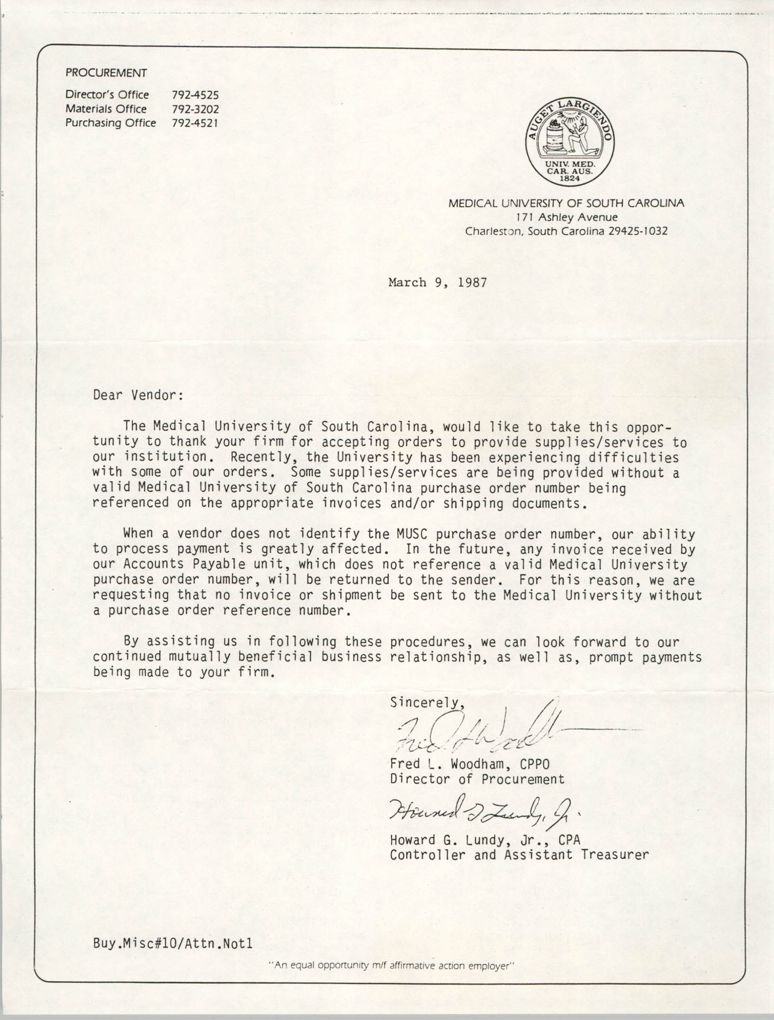 Letter from Fred L. Woodham and Howard G. Lundy, Jr., Medical University of South Carolina (MUSC), March 9, 1987