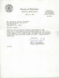 Letter from W.A.C. Furtwangler to William A. Glover, May 21, 1987