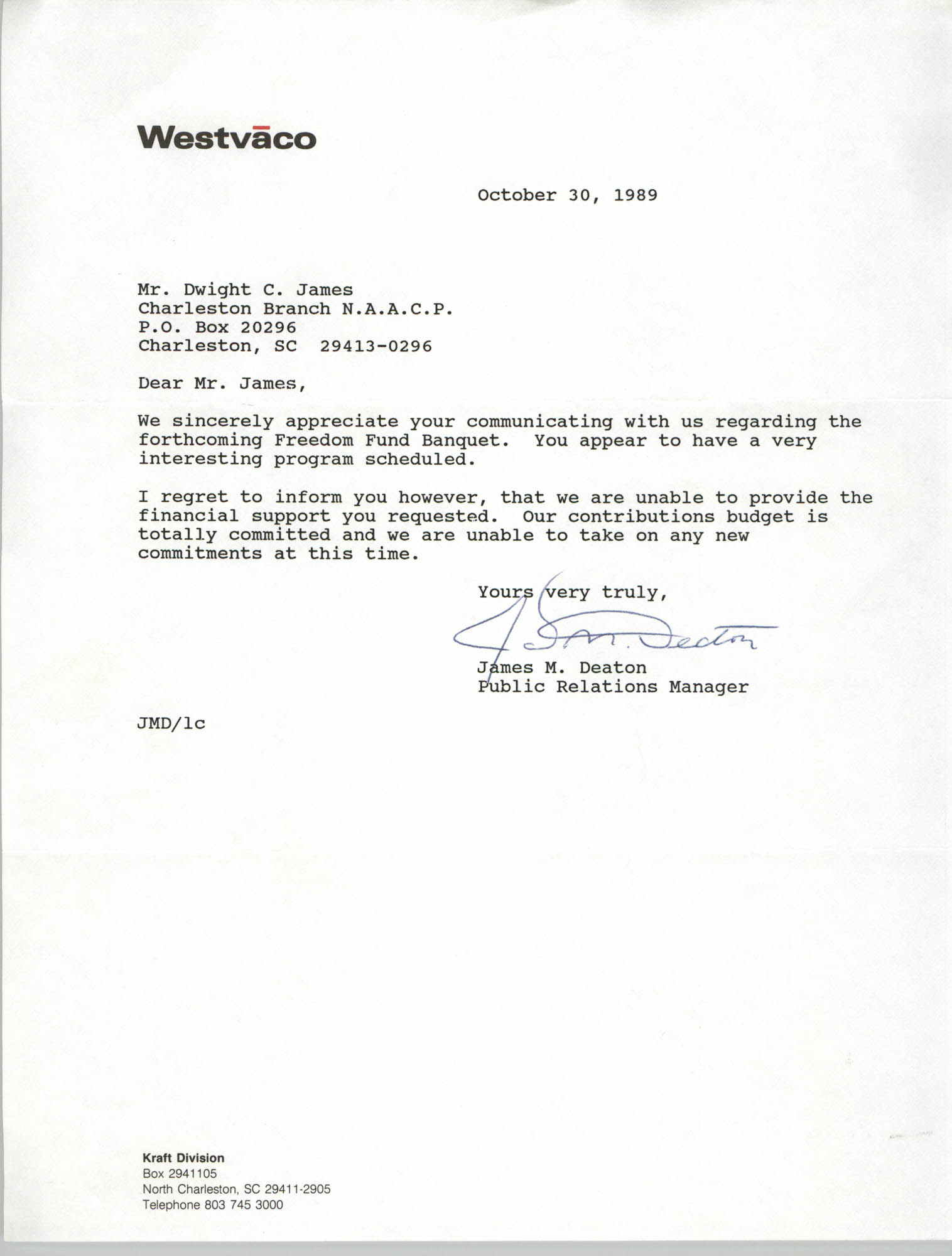 Letter from James M. Deaton to Dwight C. James, October 30, 1989
