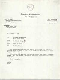 Memorandum, Lucille S. Whipper, March 10, 1987