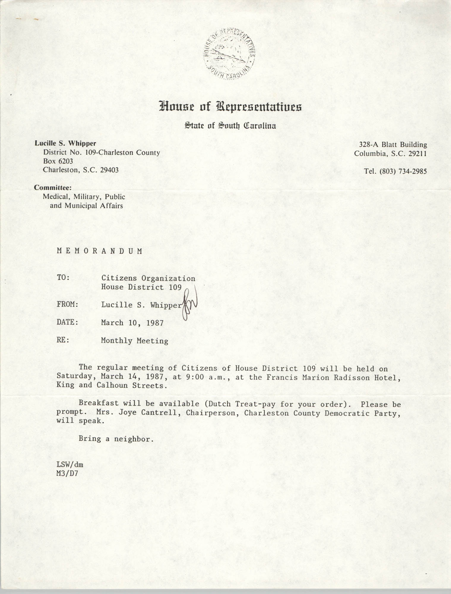 Memorandum, Lucille S. Whipper, March 10, 1987
