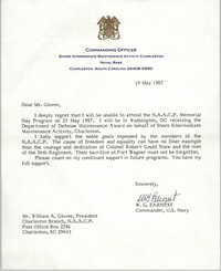 Letter from W.G. Earnest to William A. Glover, May 19, 1987