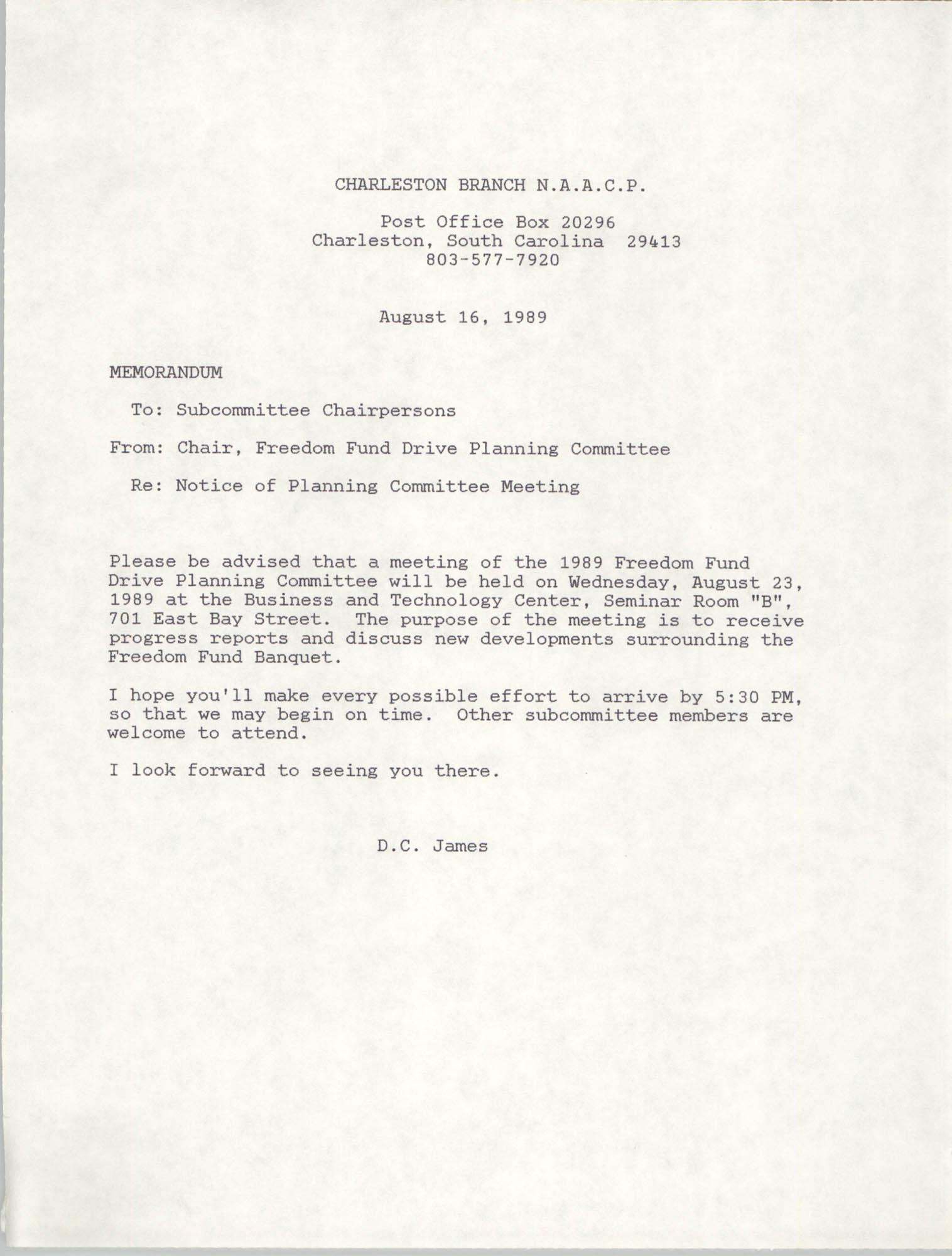 Memorandum, D.C. James, August 16, 1989