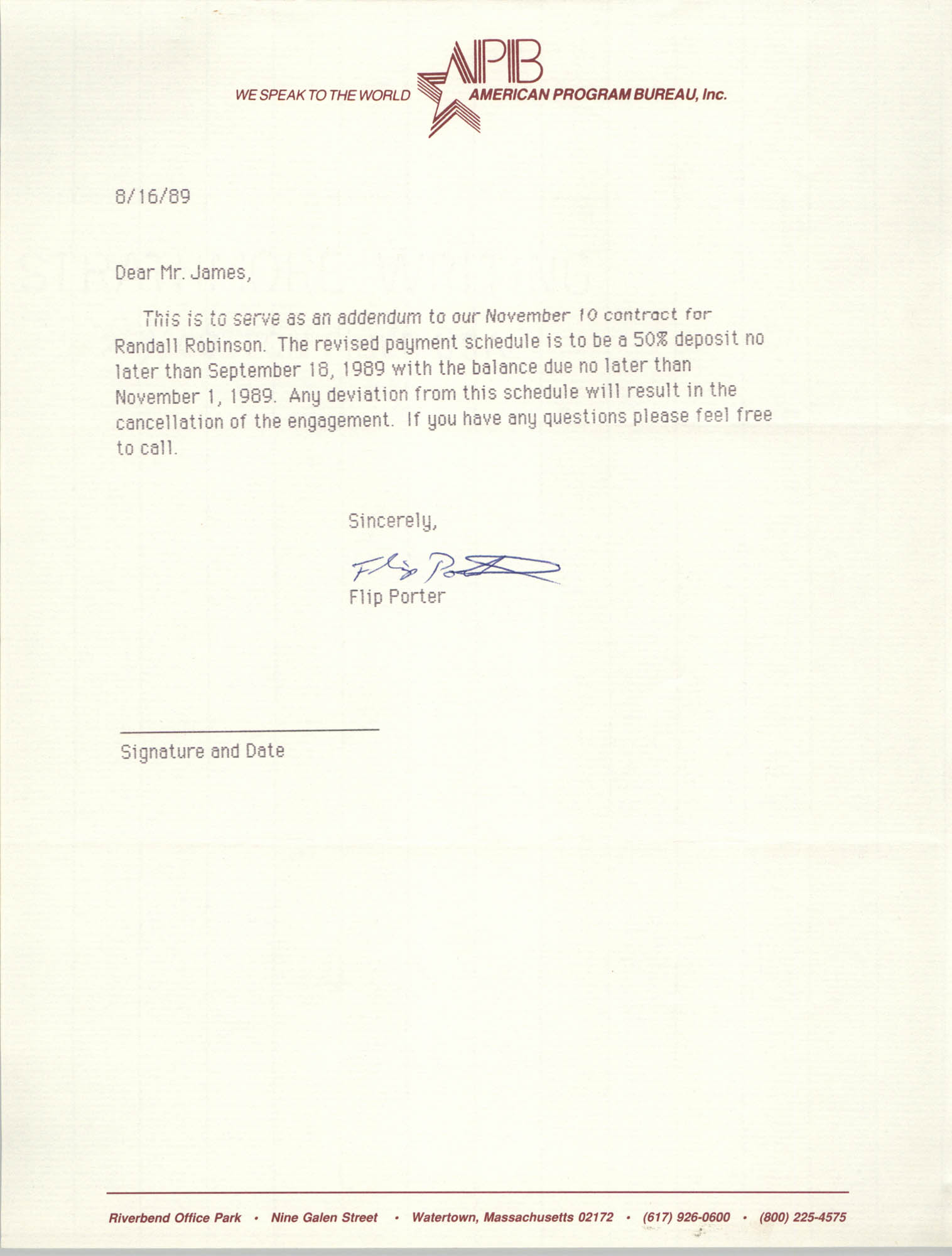 Letter from Flip Porter to Dwight C. James, August 16, 1989