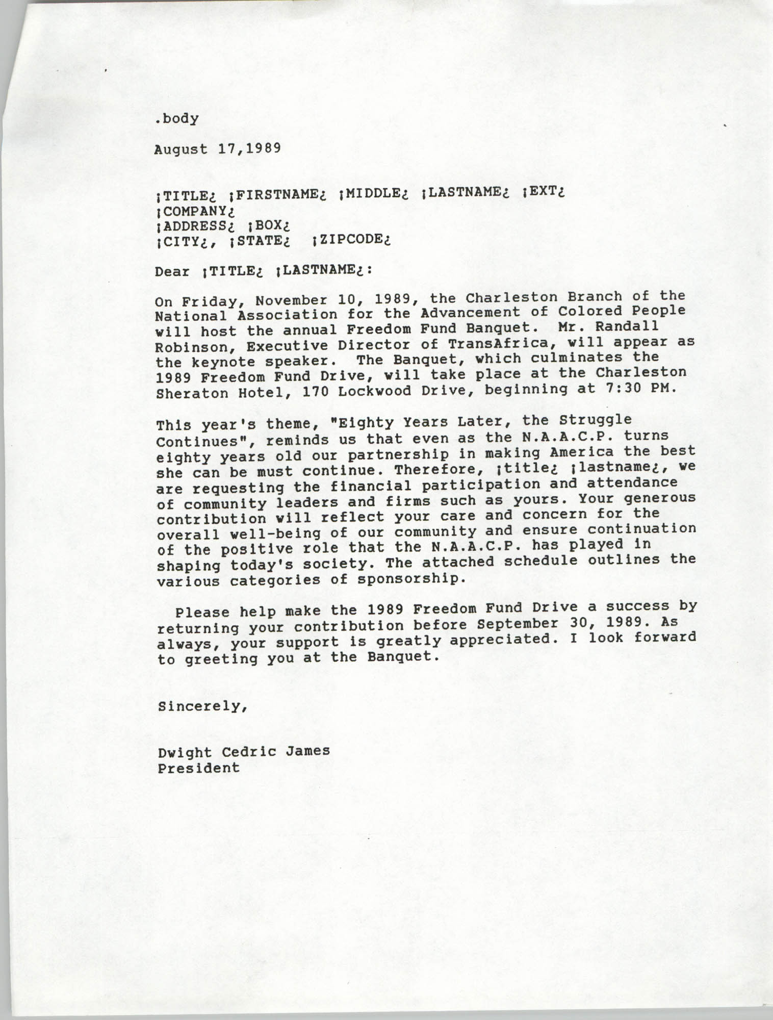 Draft, Letter from Dwight C. James, Freedom Fund Banquet, August 17, 1989