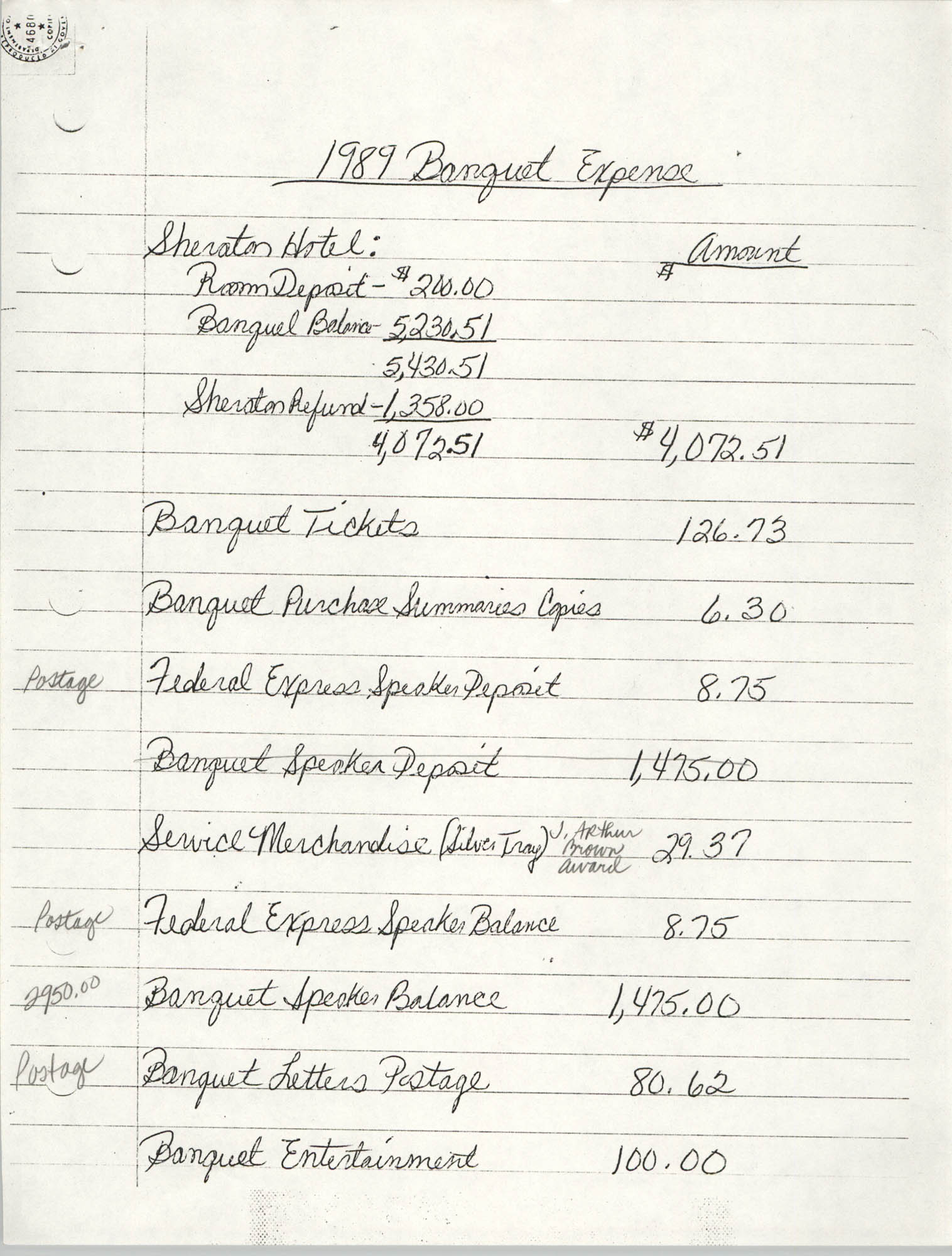 Handwritten Notes, 1989 Banquet Expenses